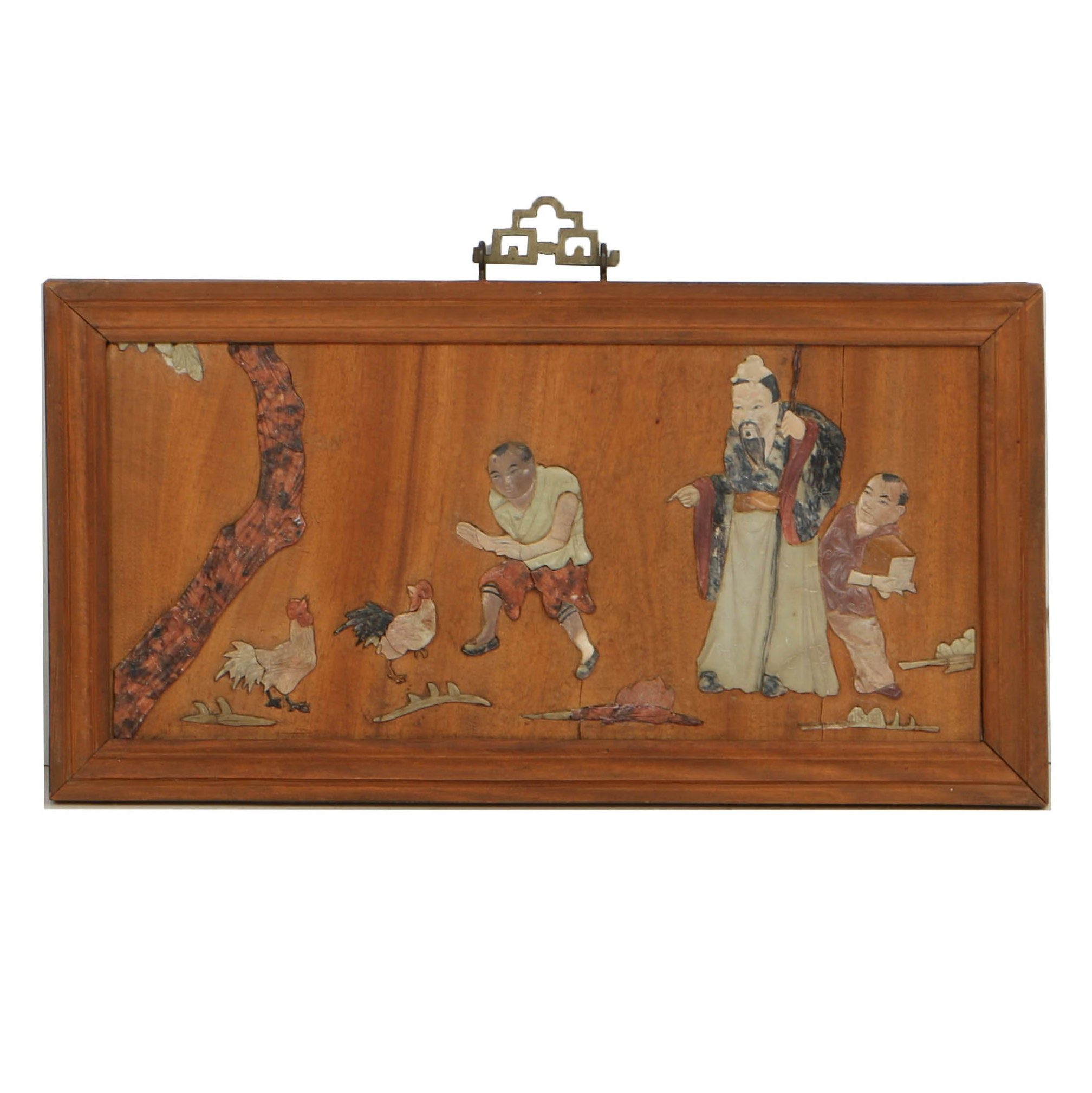 Chinese Mahogany Panel with Soapstone Figural Inlay