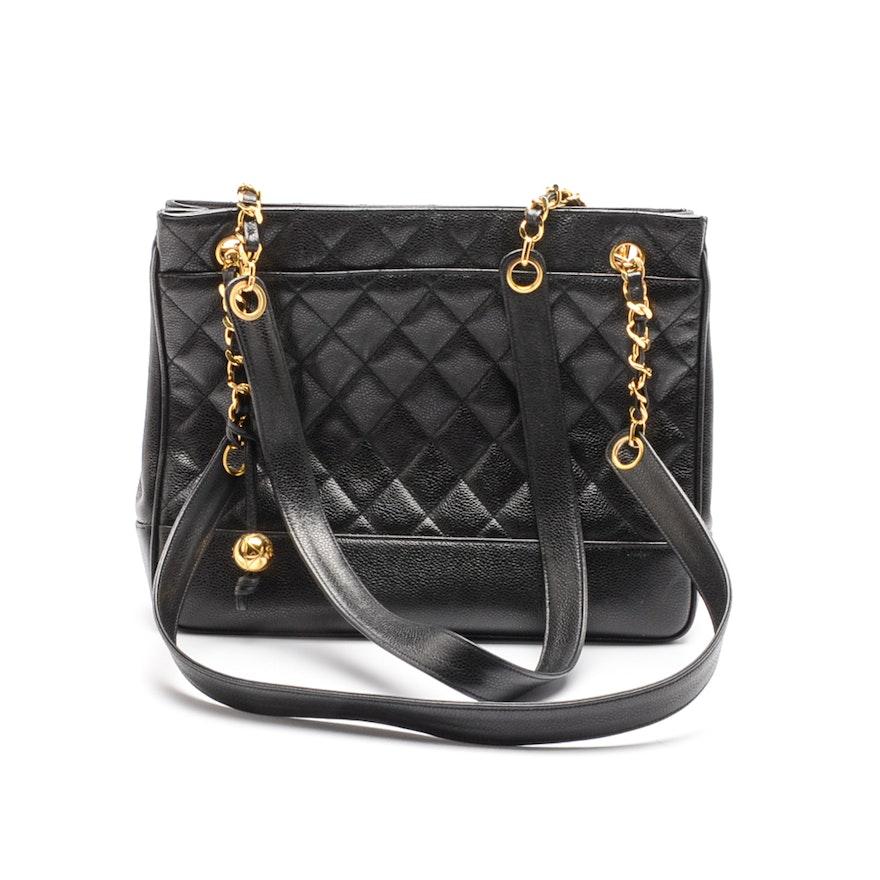 74eefb76e38e Chanel Black Diamond Quilted Caviar Leather Handbag   EBTH