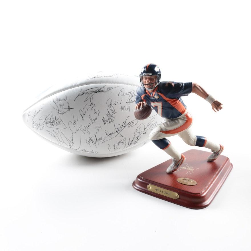 1d8d39040 John Elway Statue and Facsimile 1989 Denver Broncos Autographed Football ...