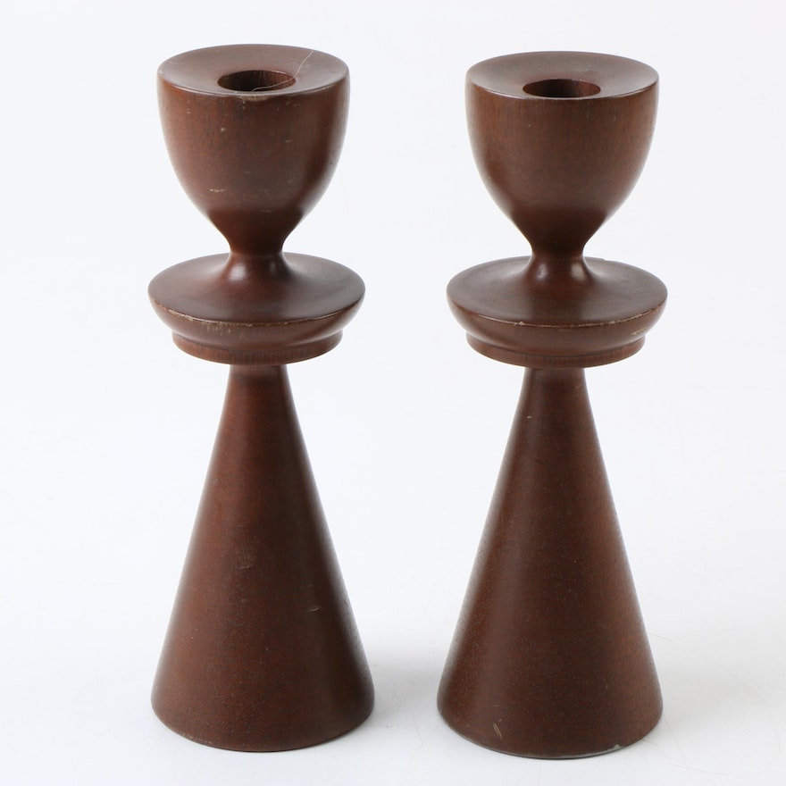 wood turning candle holders Mid Century Modern Turned Wood Candle Holders By Rosario