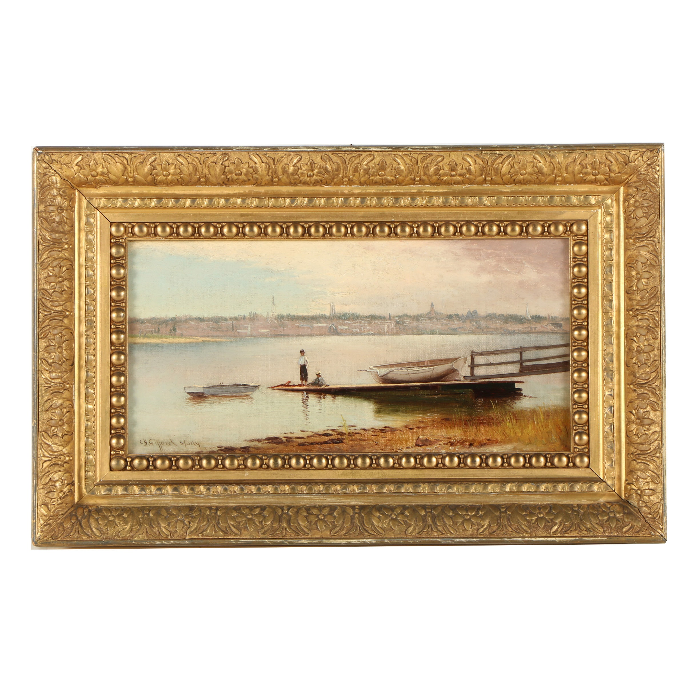 "Charles Henry Gifford Oil Painting ""New Bedford from Gifford's Wharf"""