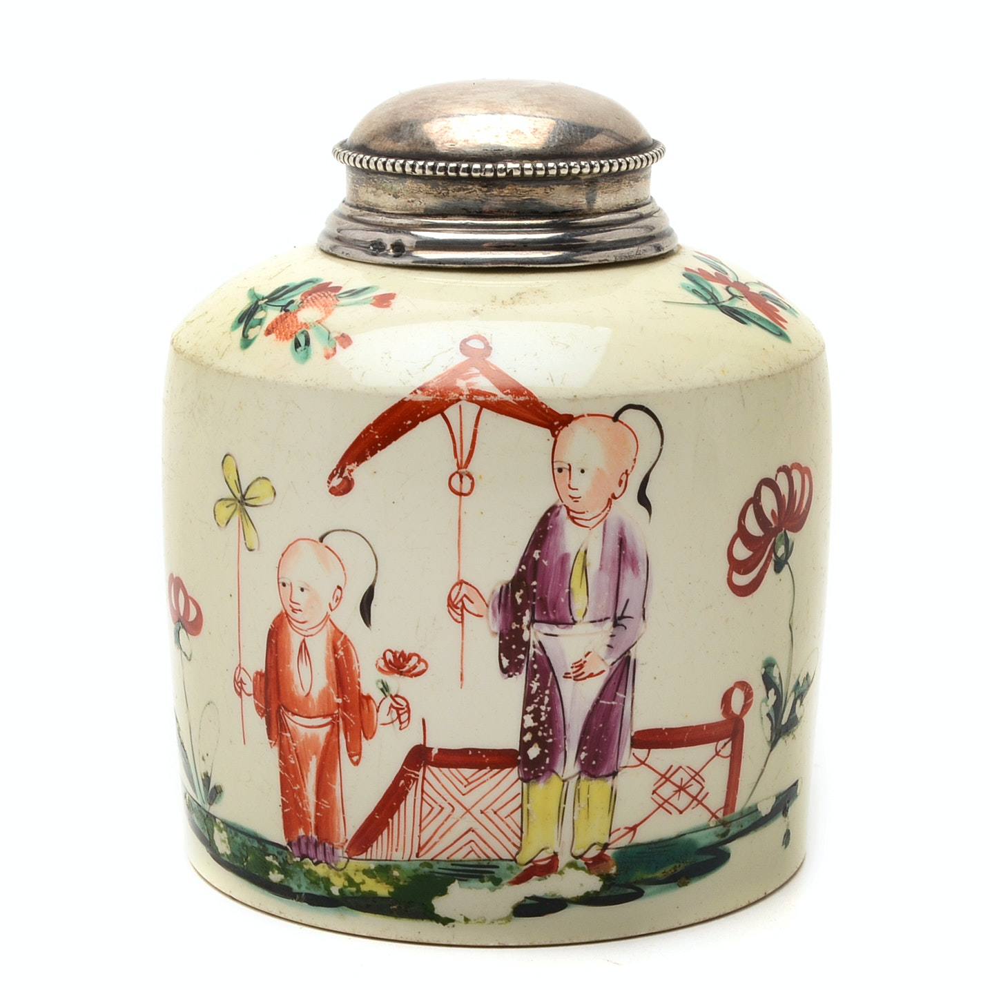 18th-Century English Creamware Tea Caddy with Sterling Silver Lid