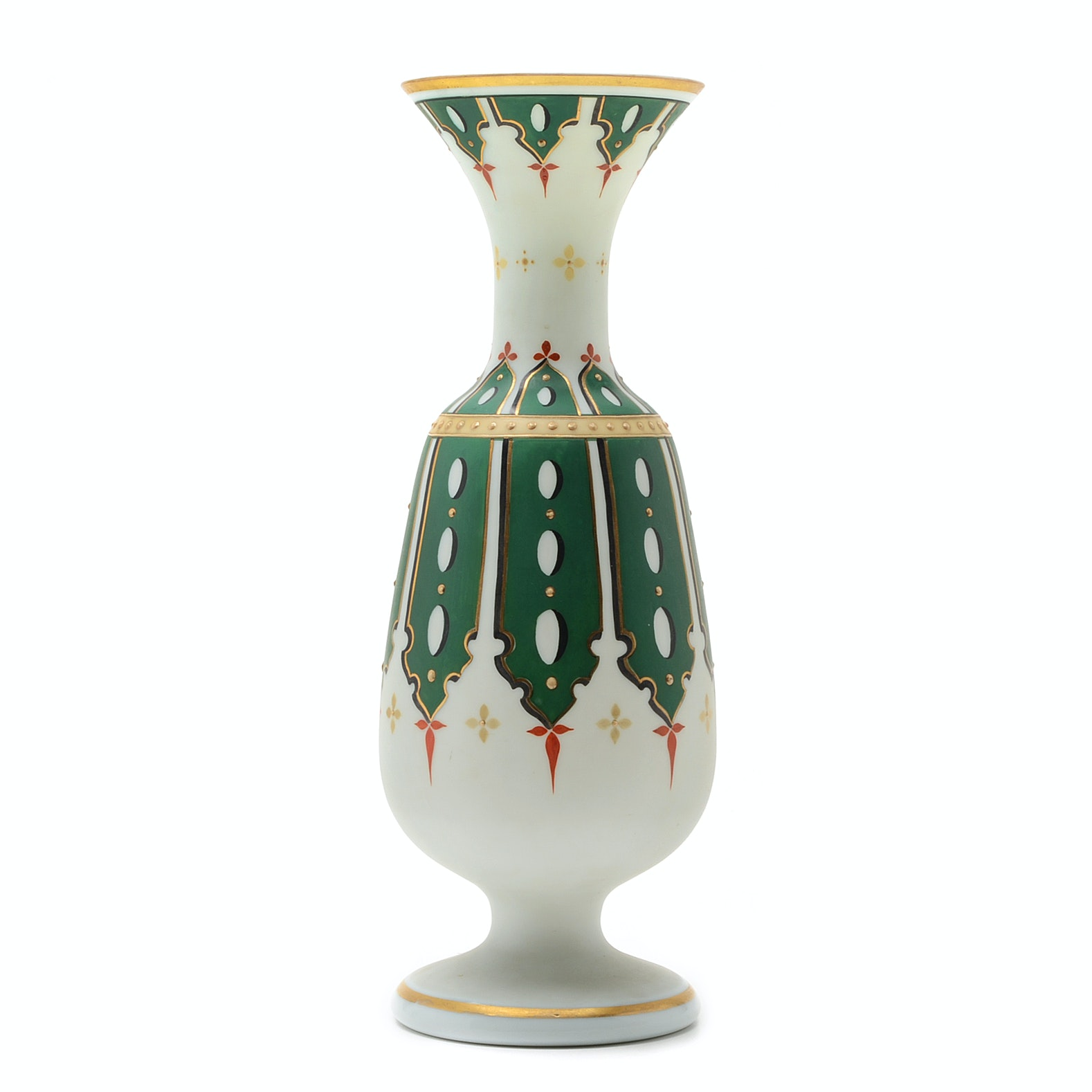 Bristol Satin Glass Hand Painted Vase