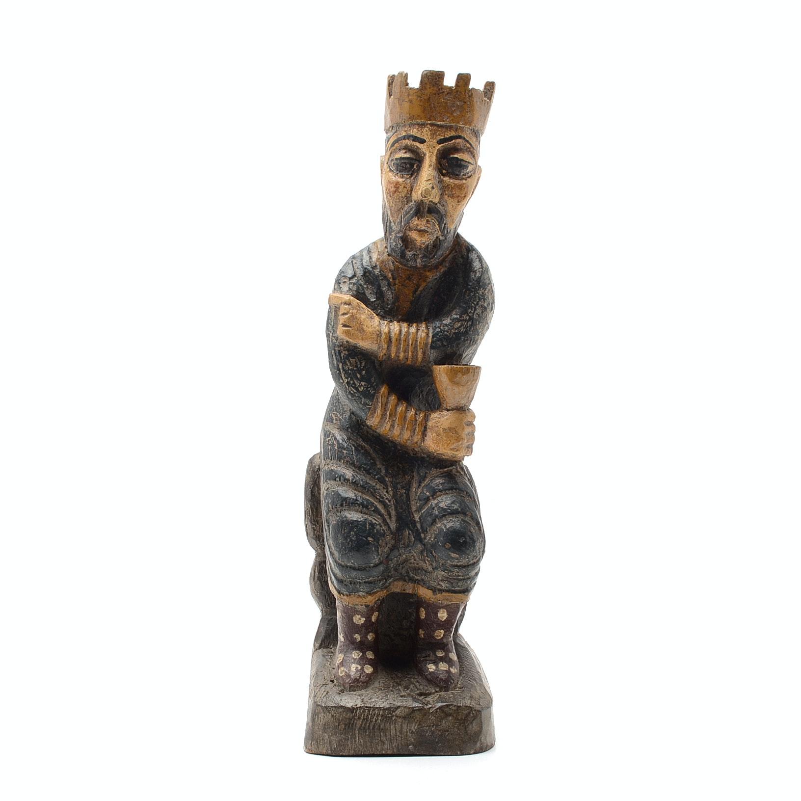 Antique Continental Wood Sculpture of a King Solomon