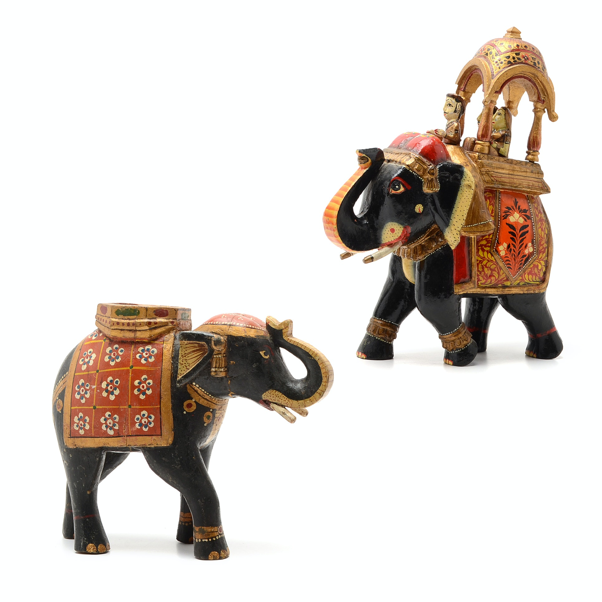 A Pair of Large Hand Painted Indian Elephants