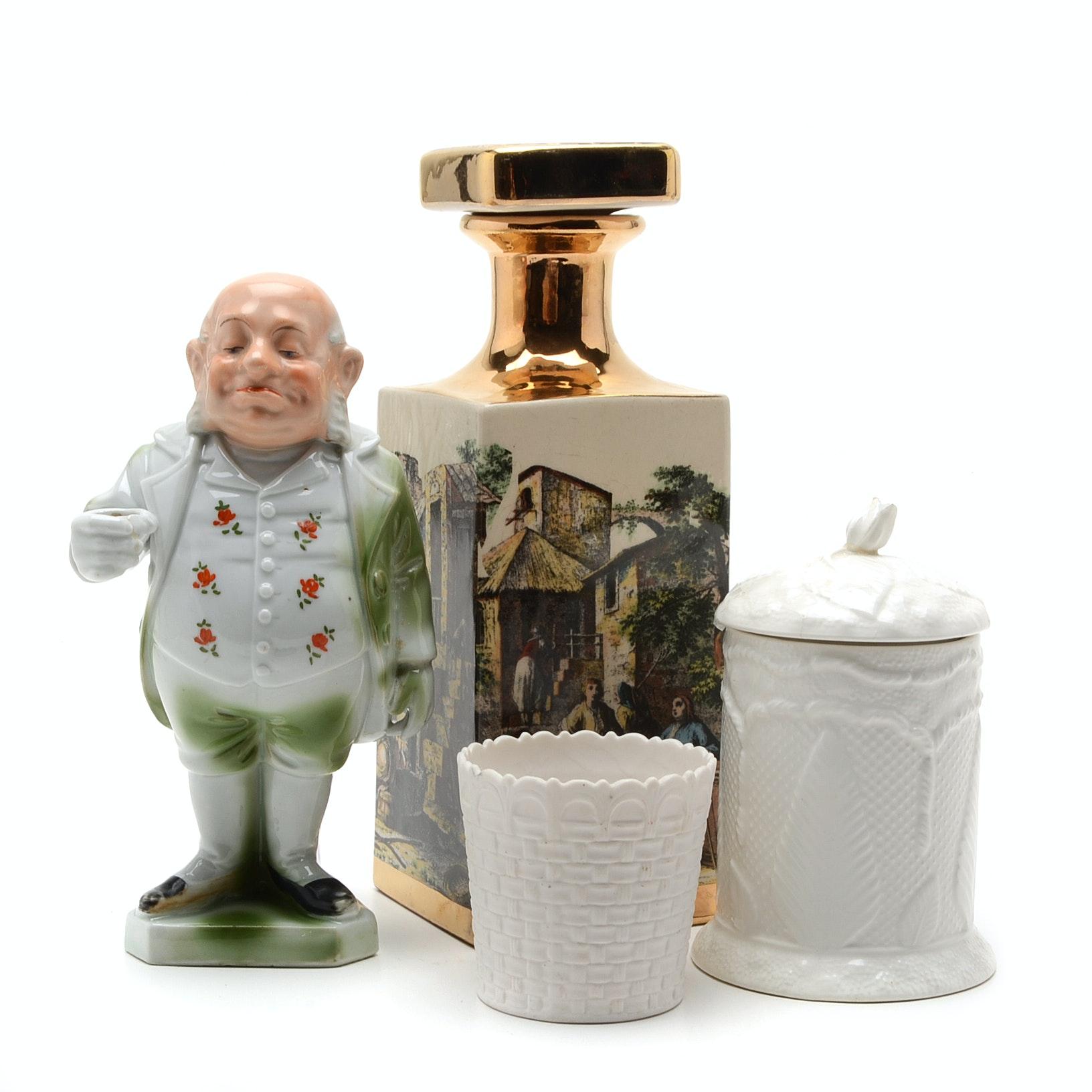 Casa Vinicola Decanter and Other decorative Porcelain Pieces