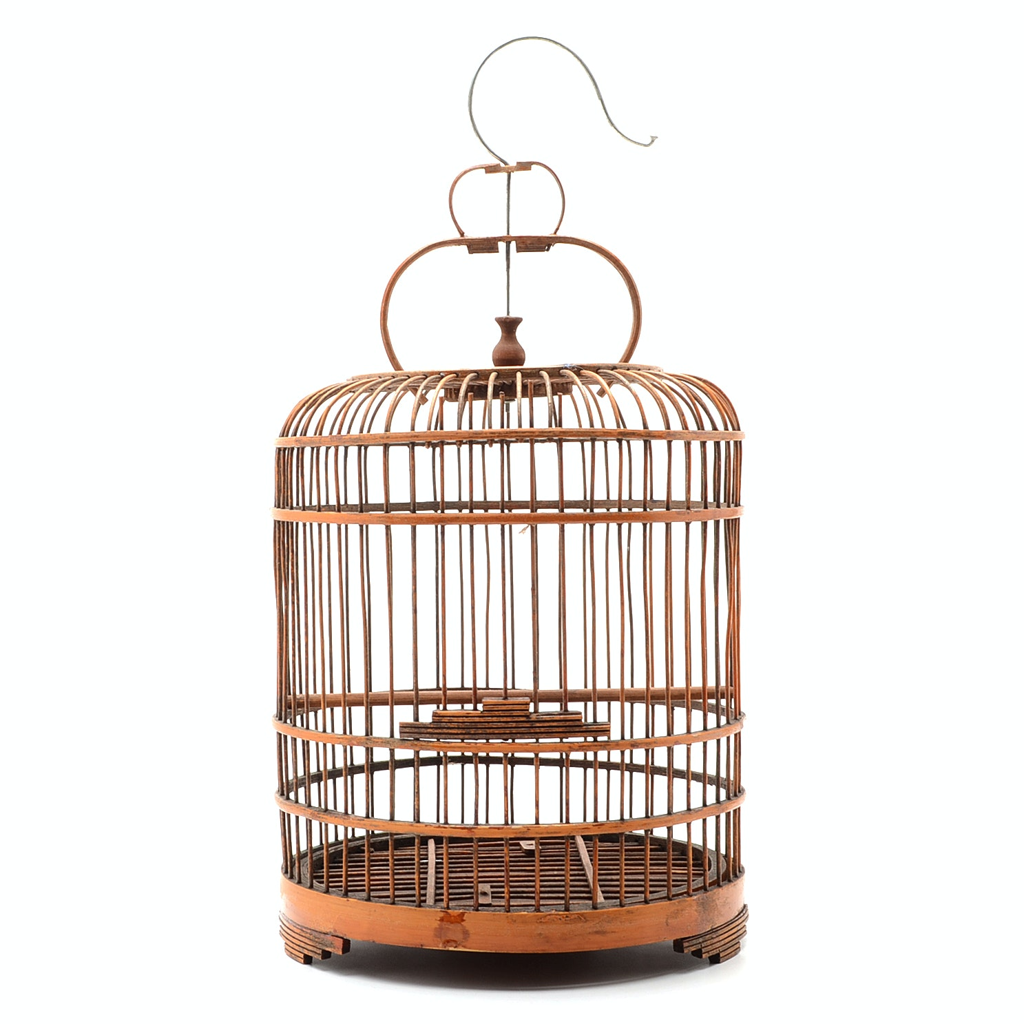 Vintage Chinese Bamboo and  Wood Birdcage