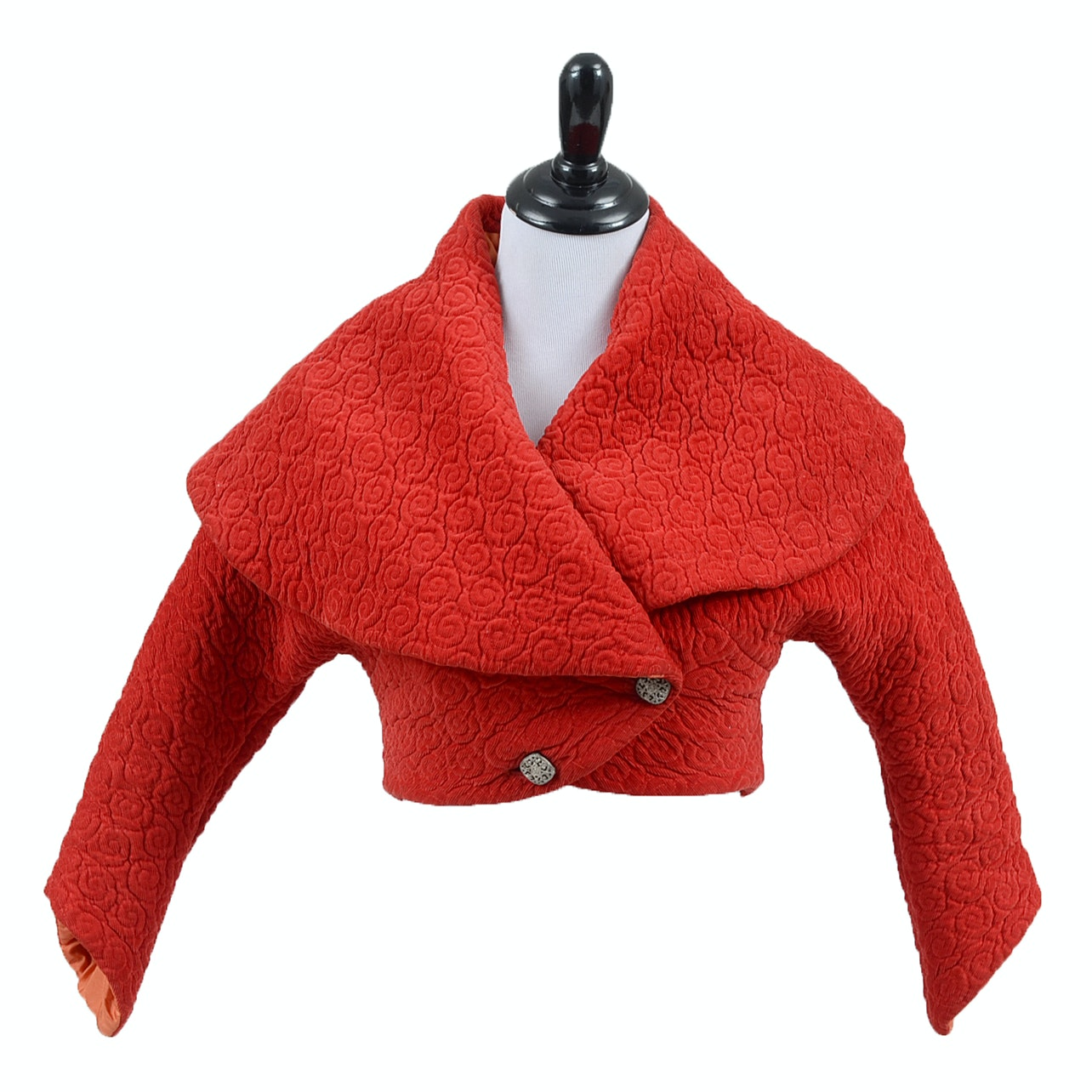 Vintage Red Quilted Jacket with Wide Shawl Collar