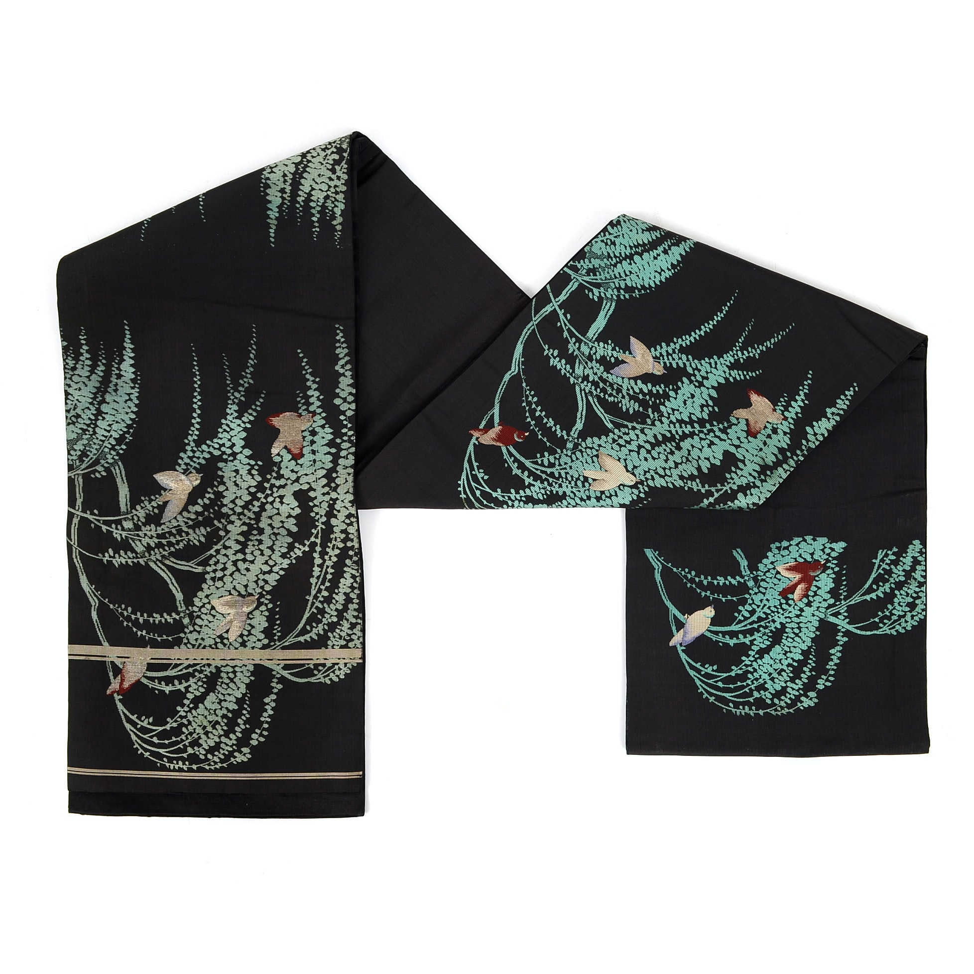Black Silk Obi Belt with Embroidered Birds and Hand-Painted Owl