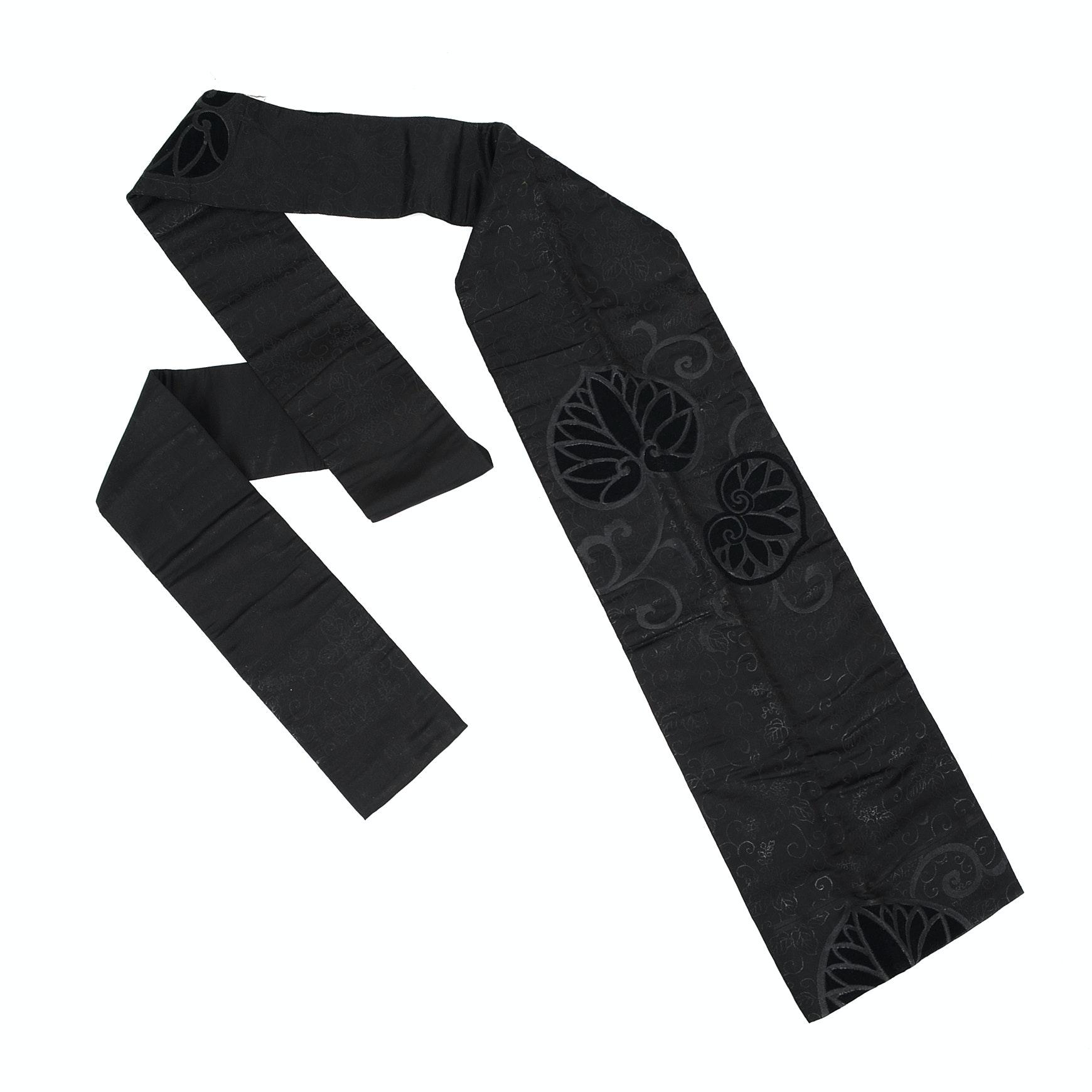 Black Silk Obi Belt