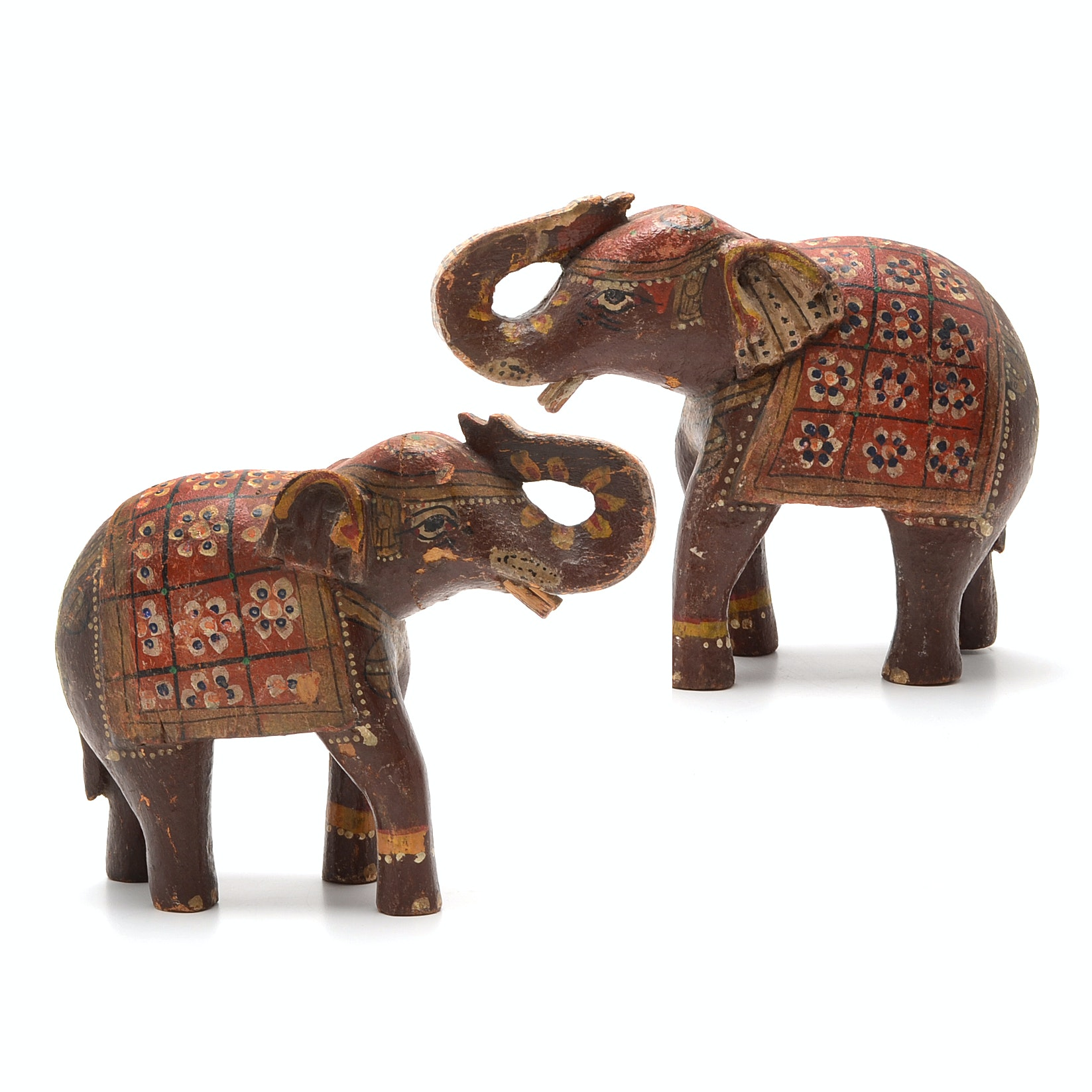 Pair of Carved Wood and Hand Decorated Indian Elephants
