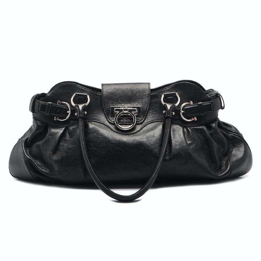 b3df6f23c31c Salvatore Ferragamo Marissa Black Leather Handbag   EBTH