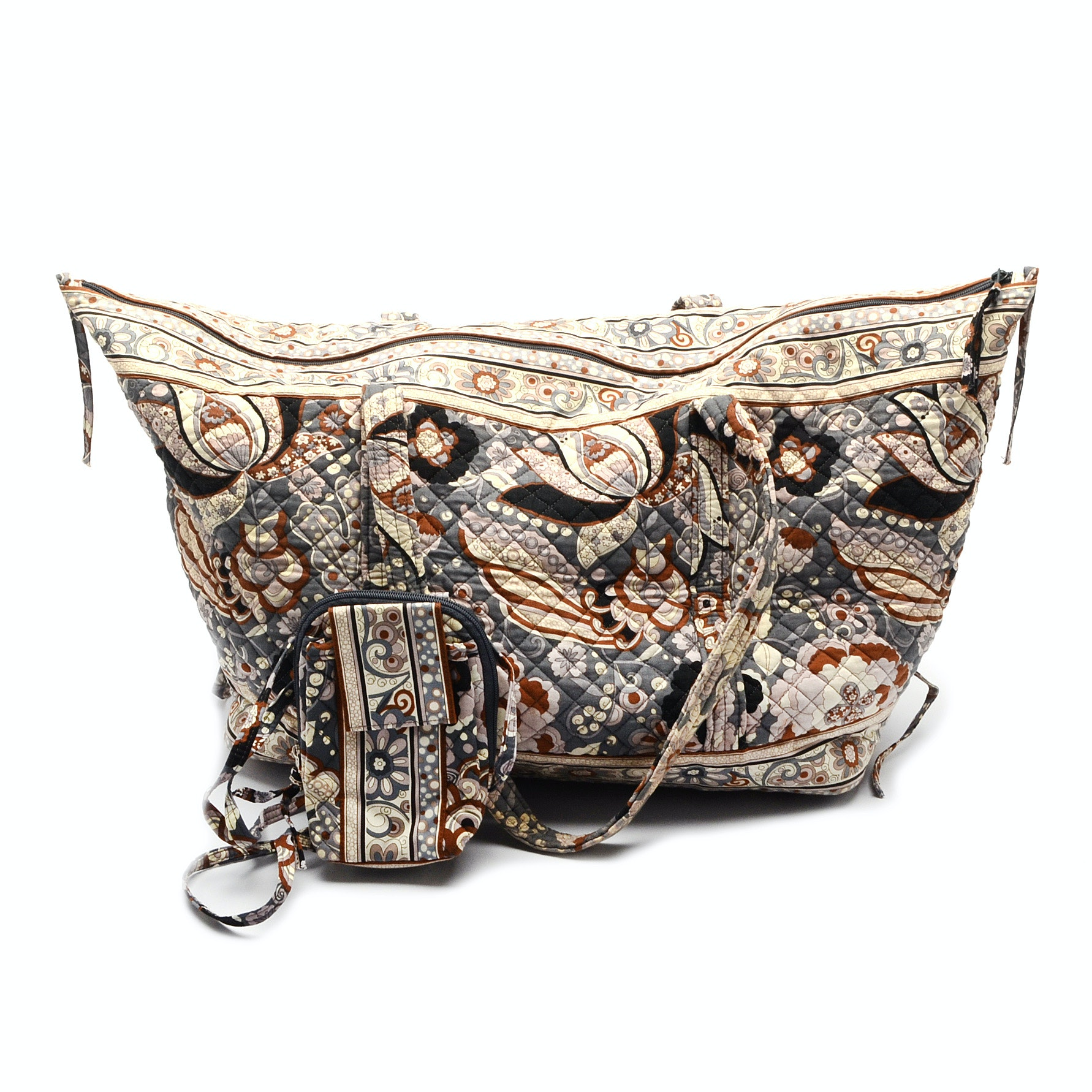 Stephanie Dawn's Gray Paisley Duffle Bag and Convertible Mobile Bag
