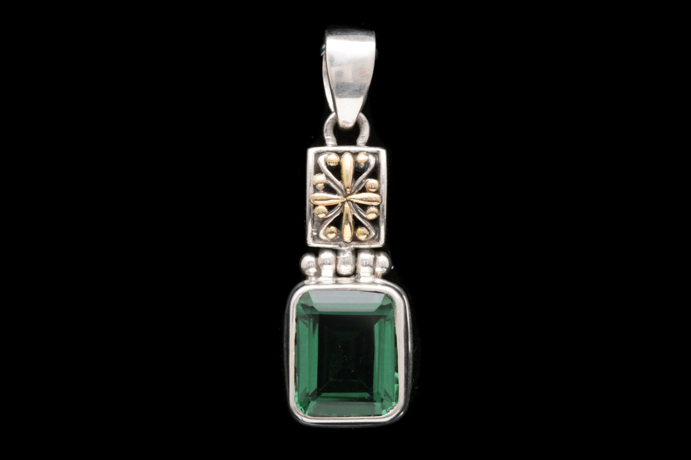 Sterling Silver, 18K Yellow Gold and Green Quartz Pendant