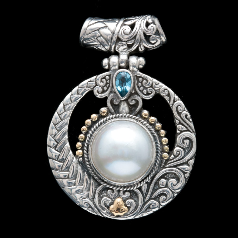 Sterling Silver, 18K Yellow Gold, Mabé Pearl and Blue Topaz Pendant