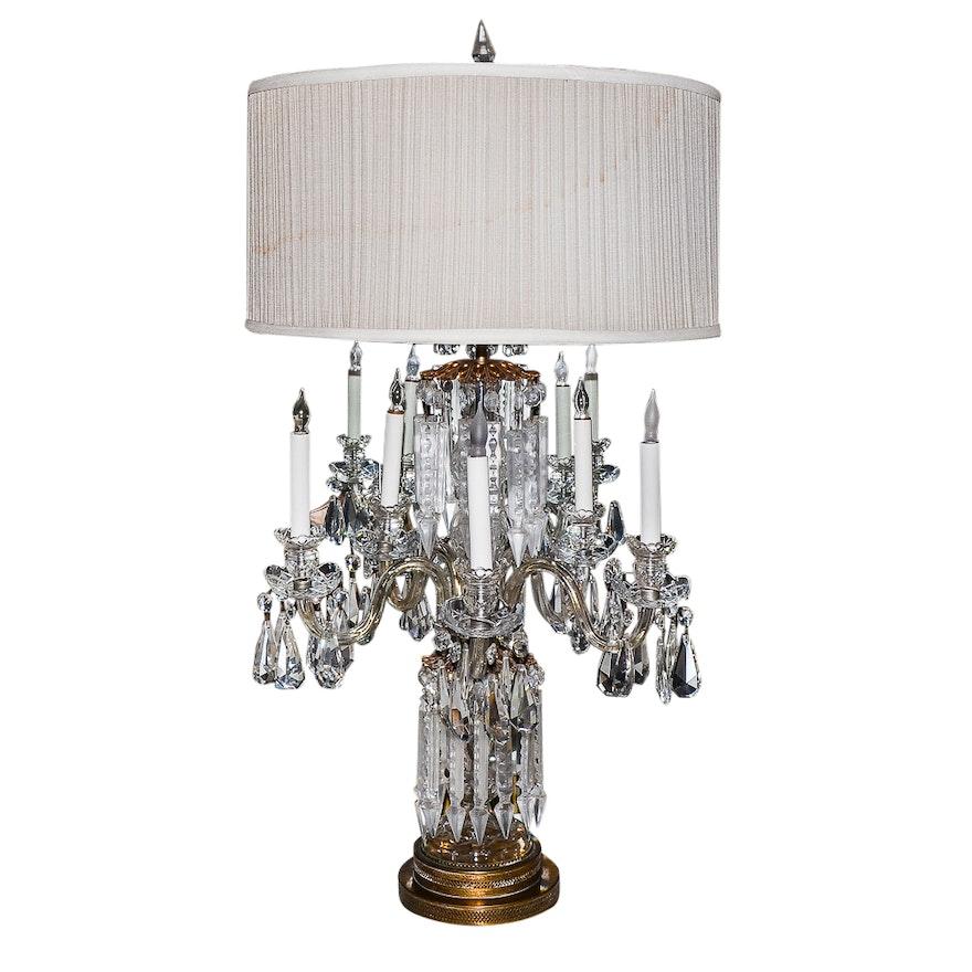 Large Cut Crystal Girandole Table Lamp Ebth