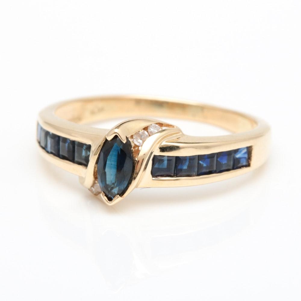 10K Yellow Gold, 1.00 CTW Blue Sapphire and Diamond Ring