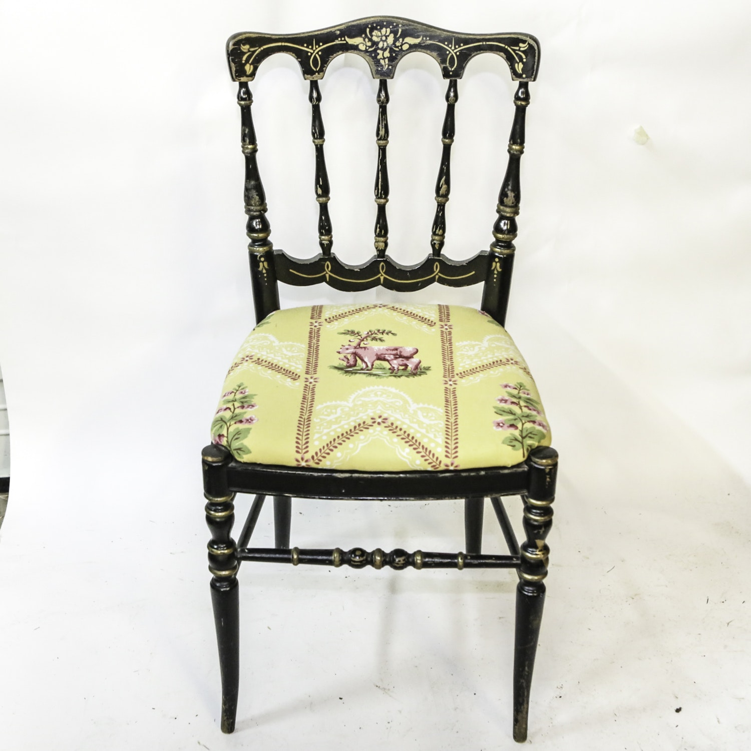 Antique Victorian Stenciled and Upholstered Side Chair
