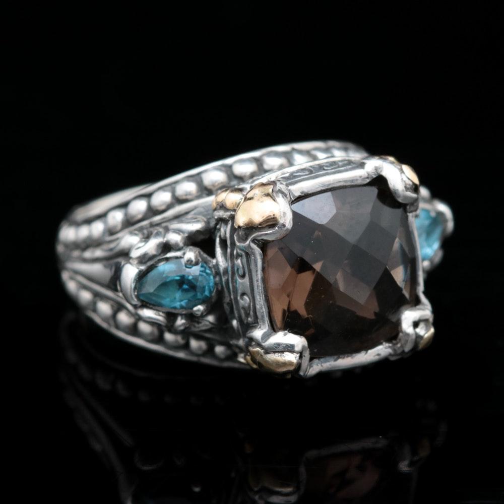 Robert Manse Sterling Silver, 18K Yellow Gold, Smoky Quartz and Blue Topaz Ring