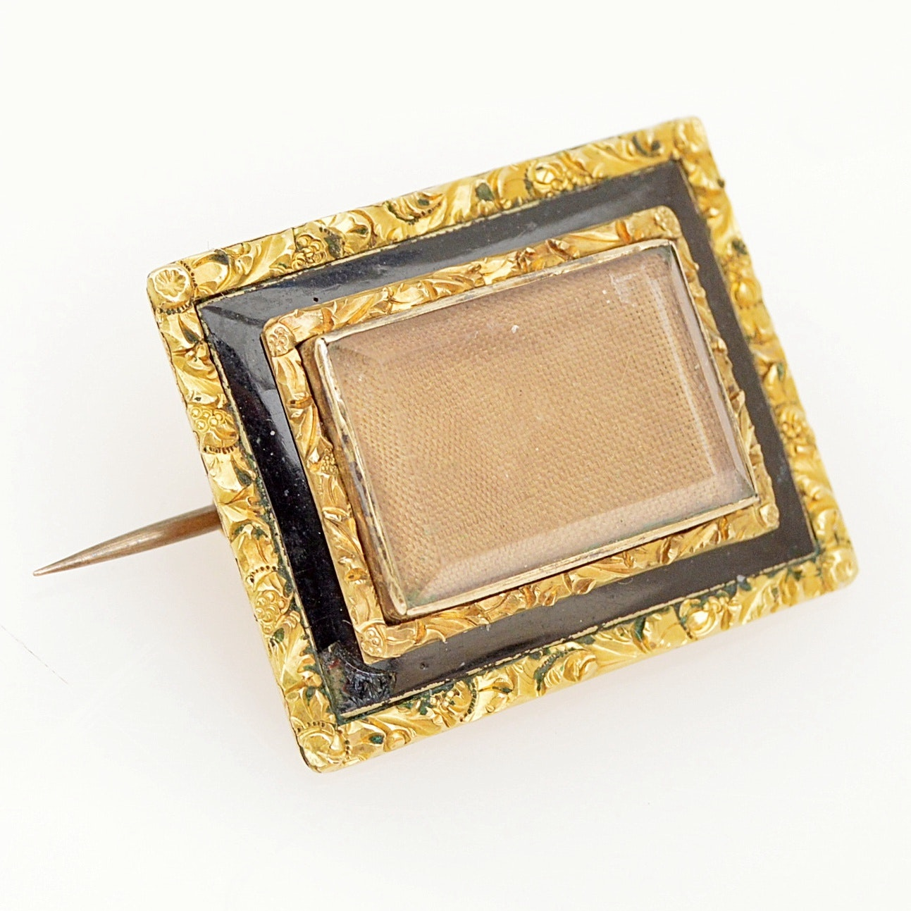 Victorian 14K Yellow Gold and Black Glass Mourning Hair Brooch