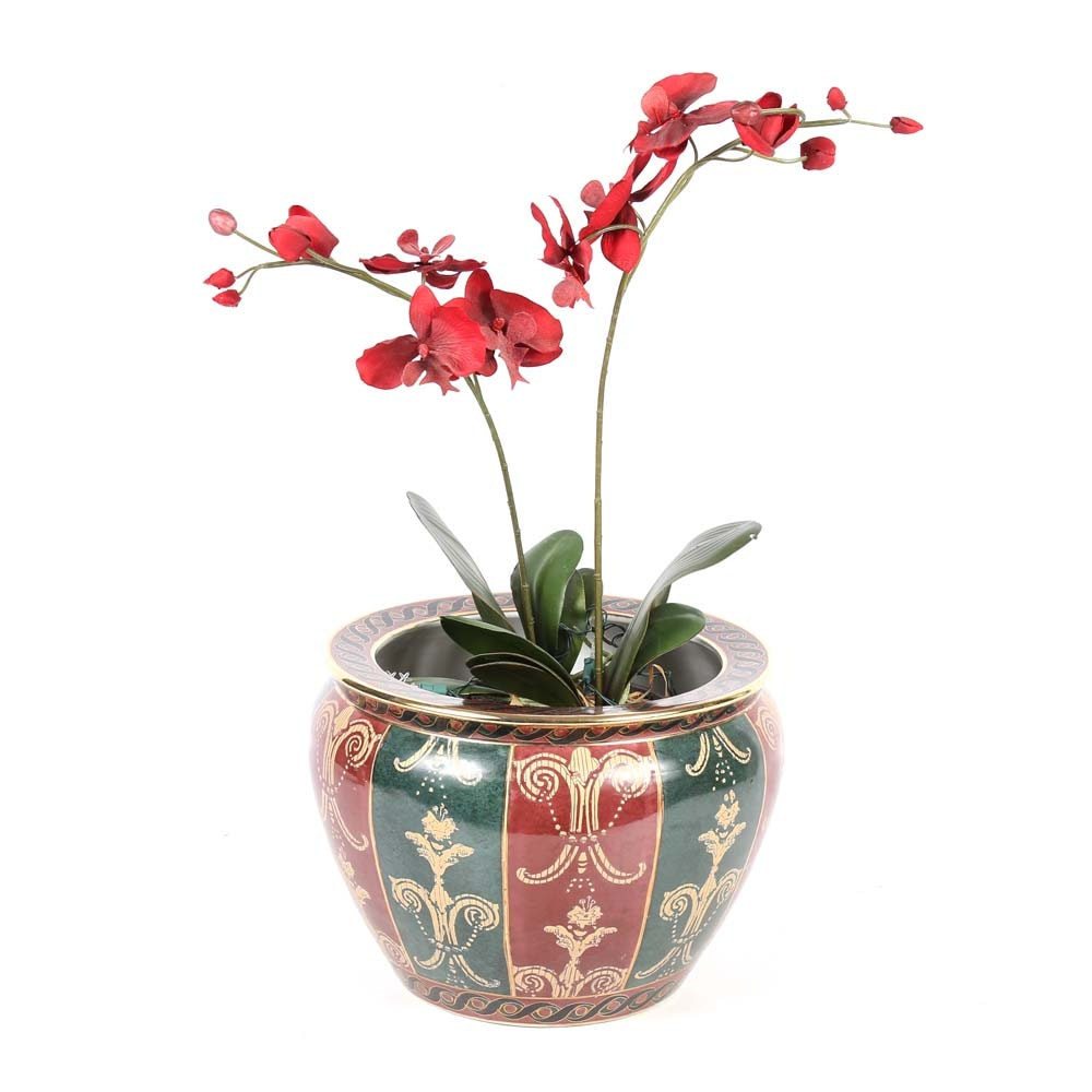 Andrea by Sadek Ceramic Planter with Silk Orchid