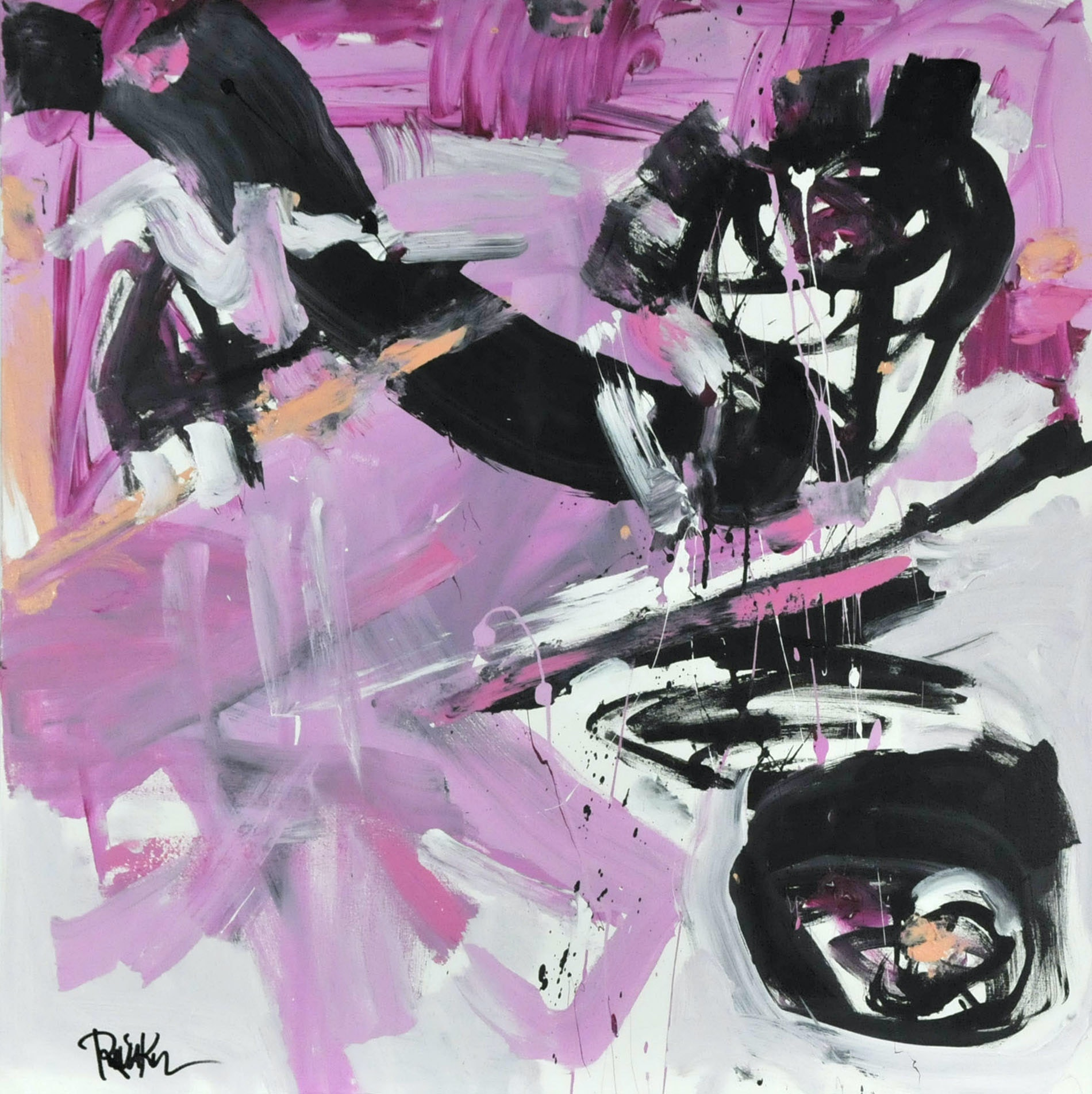"Robbie Kemper Original Acrylic on Canvas ""Pink with Black"""