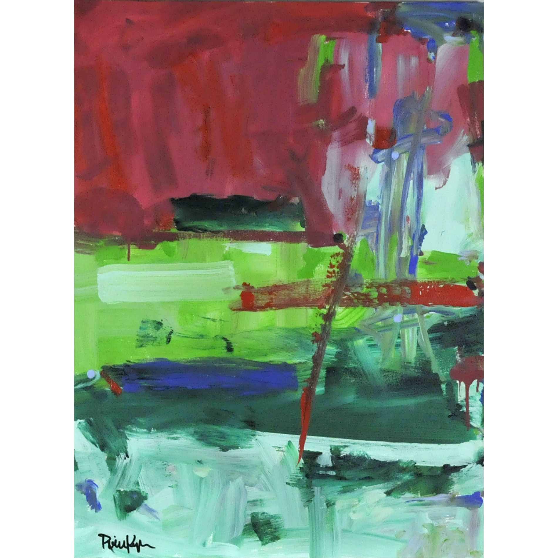 "Robbie Kemper Original Acrylic on Canvas ""Magenta and Greens"""