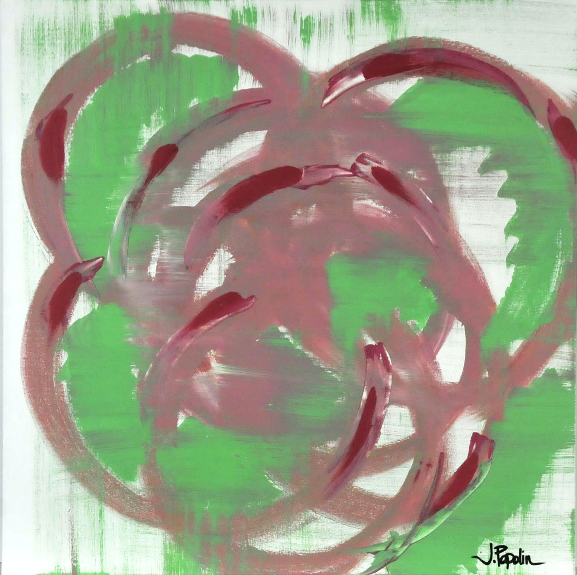 "J. Popolin Original Acrylic on Canvas ""Green, Pink and Red Swirls"""