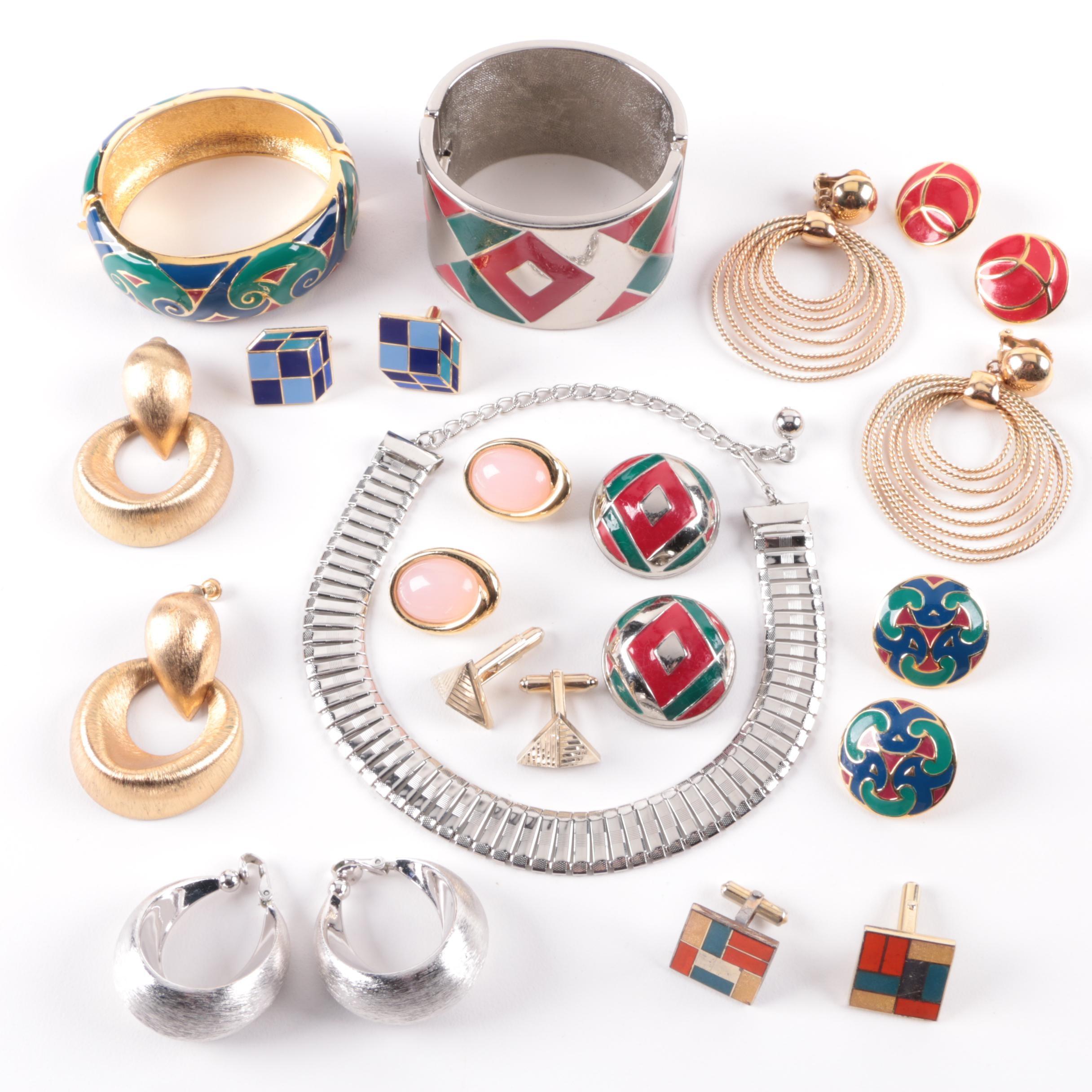 Trifari, Napier, and Lanvin Paris Enamel Jewelry Selection