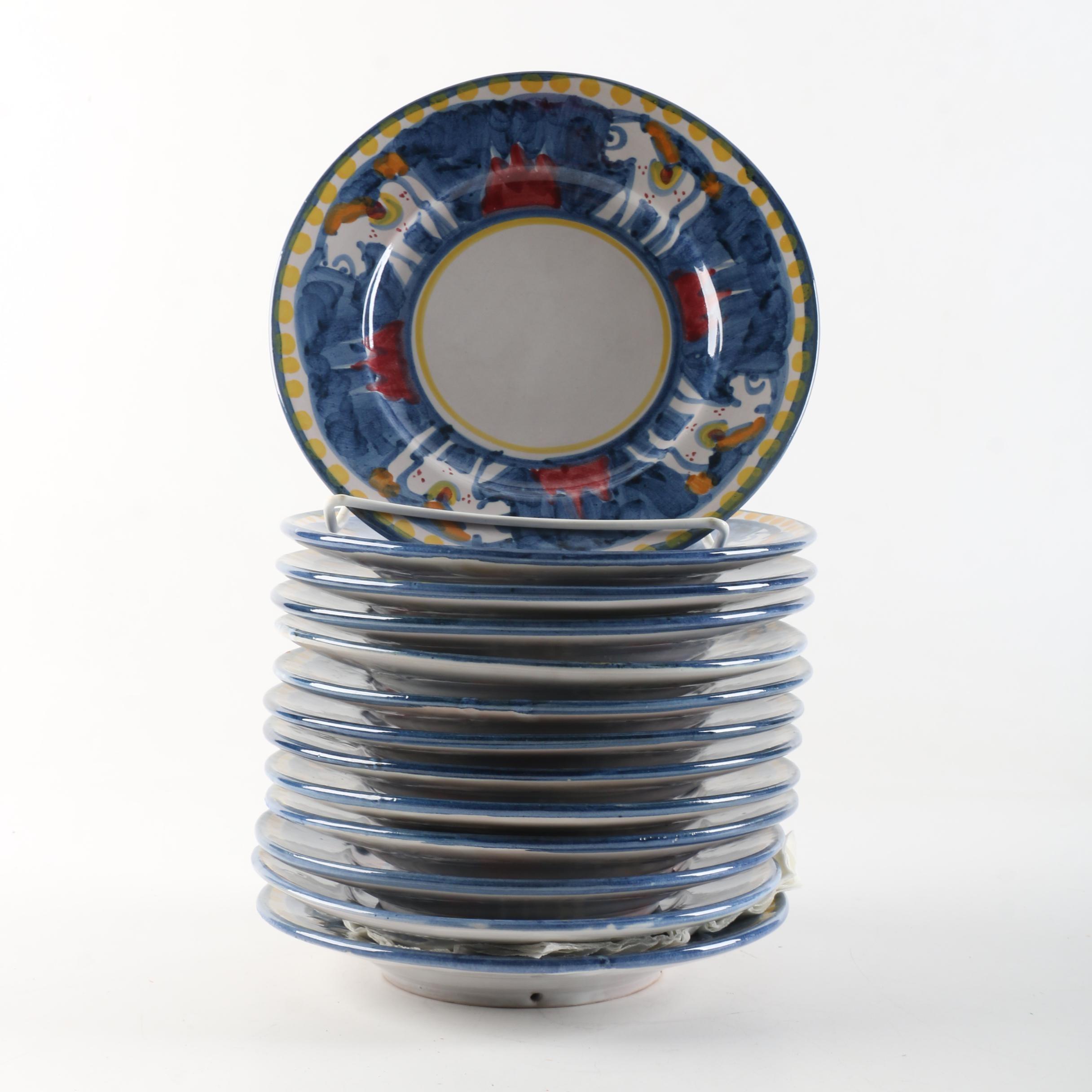 "Vietra Italian ""Campagna Horse (Cavallo)"" Hand Painted Stoneware Plates"