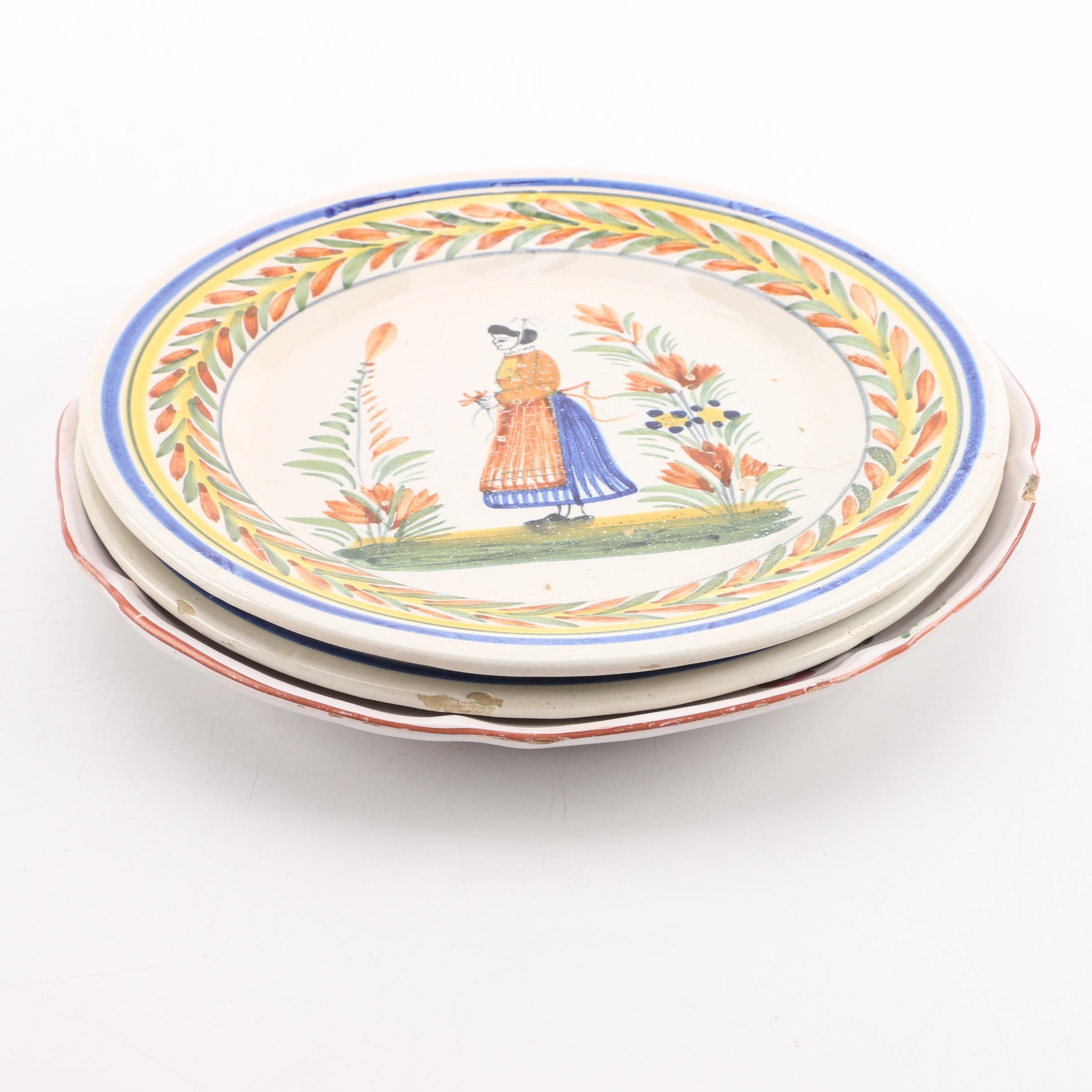 Henriot Quimper Faience Earthenware Plates