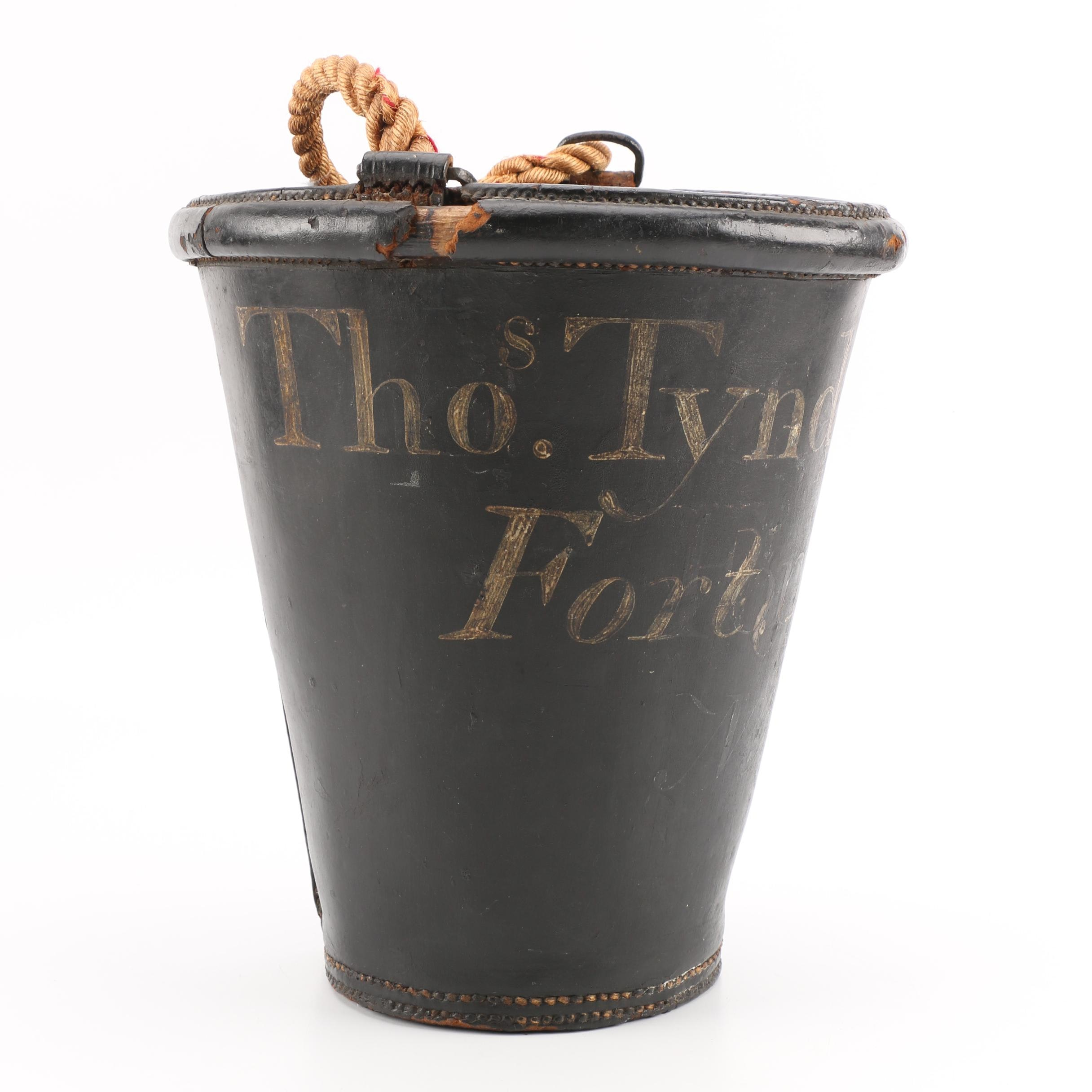 """Thos. Tyndall Esqr."" Black Leather Reproduction Fire Bucket with Rope Handle"