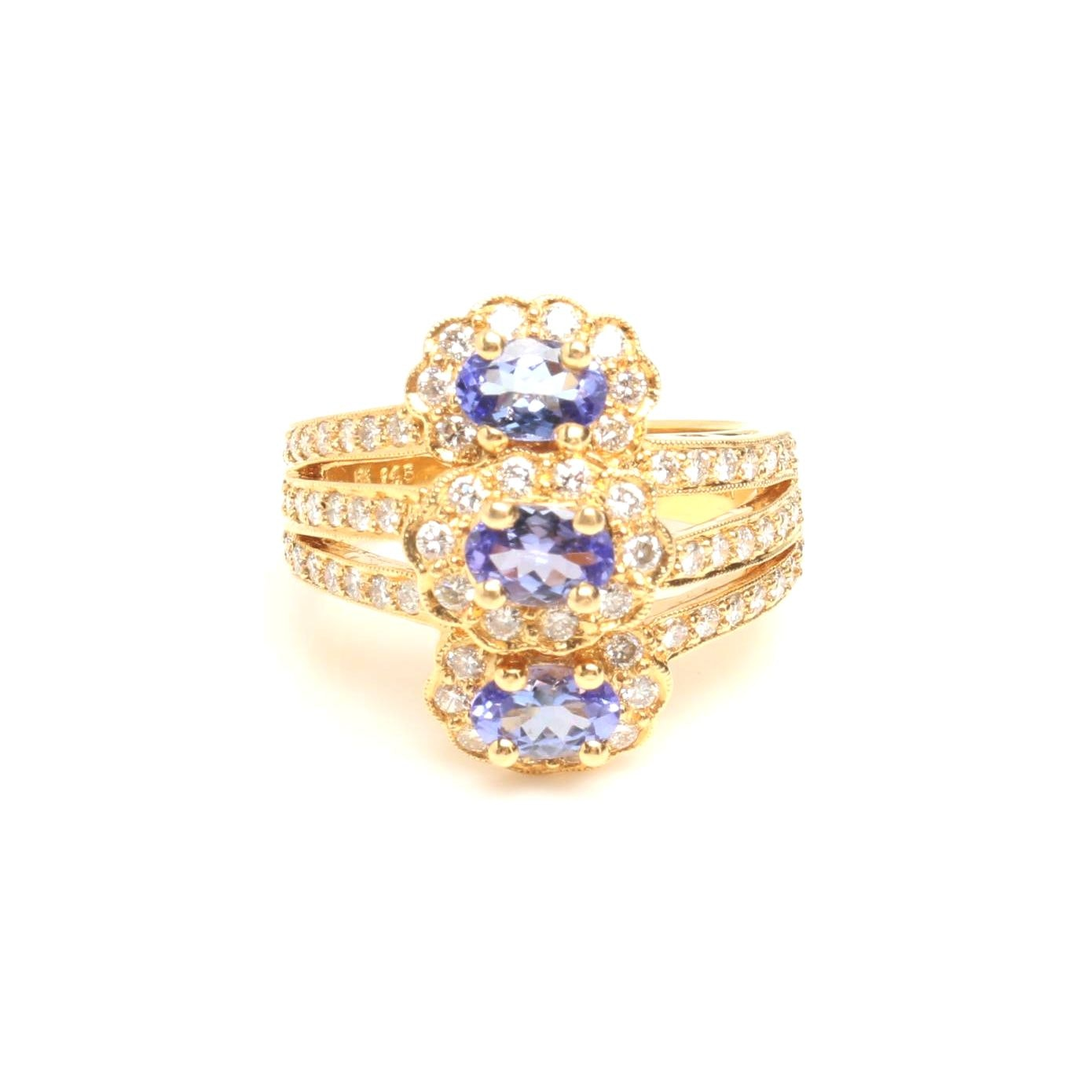 18K Yellow Gold Tanzanite and 1.02 CTW Diamond Ring