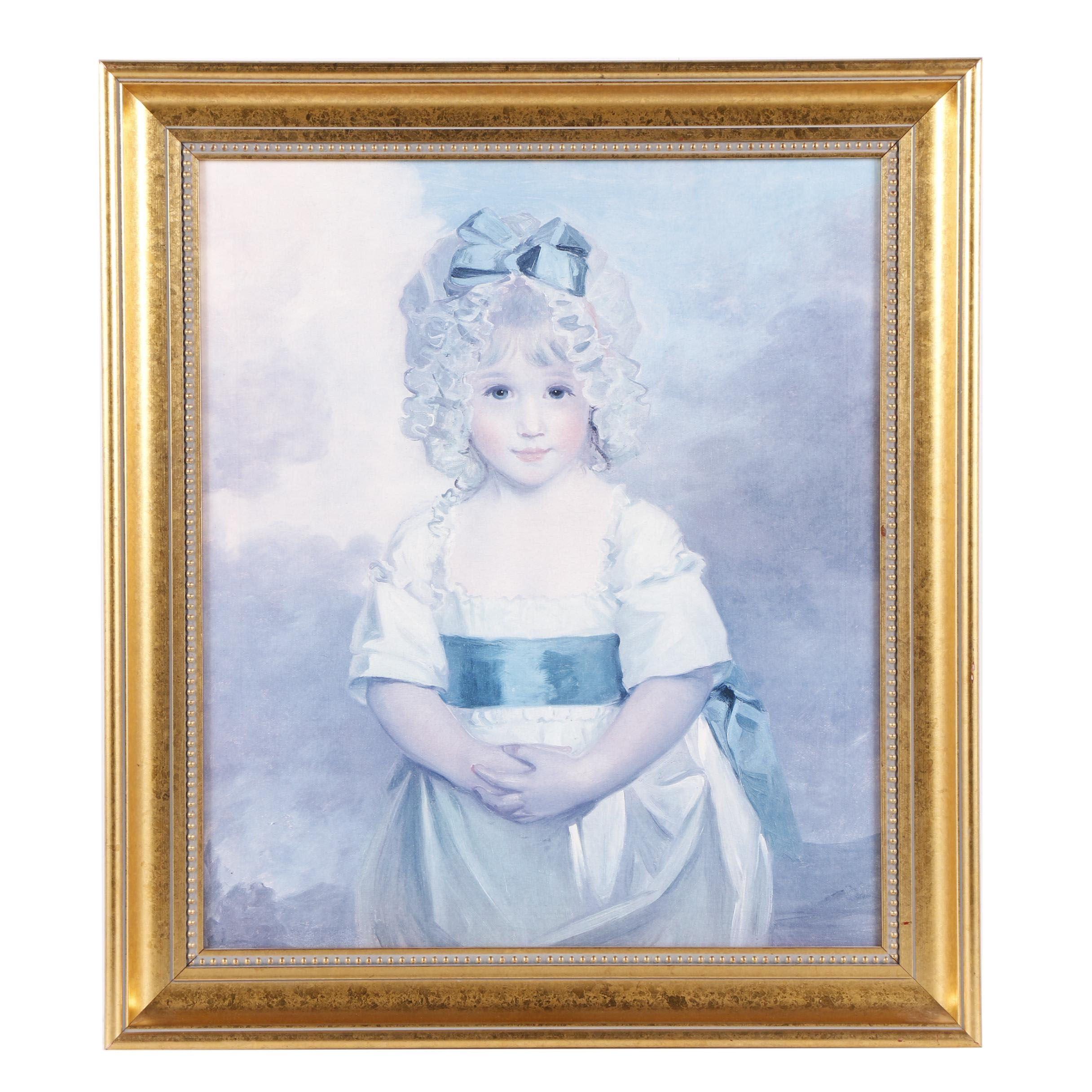 """Miss Charlotte Papendick as a Child"" Offset Lithograph after John Hoppner"
