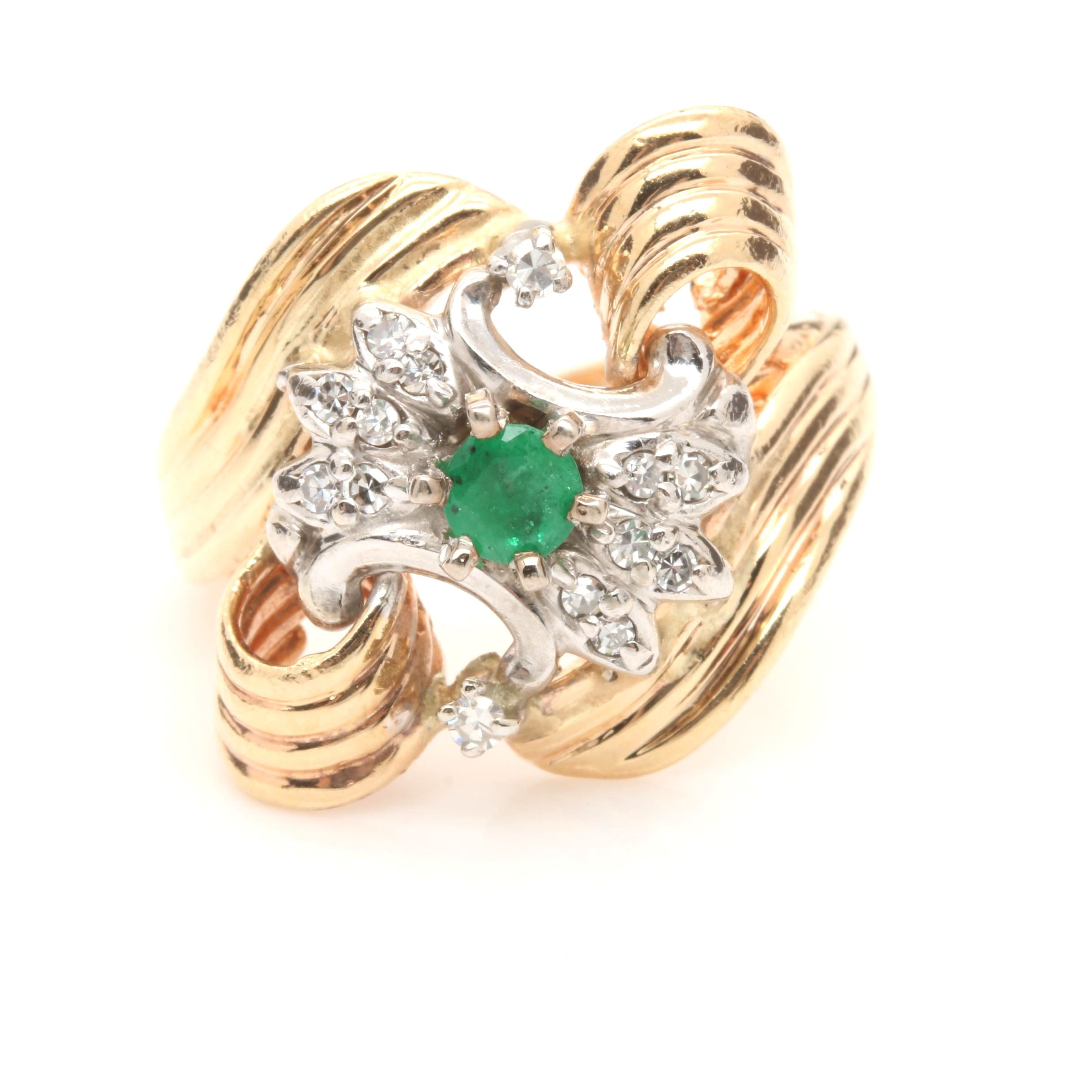 Vintage 14K Yellow Gold Diamond and Emerald Ring