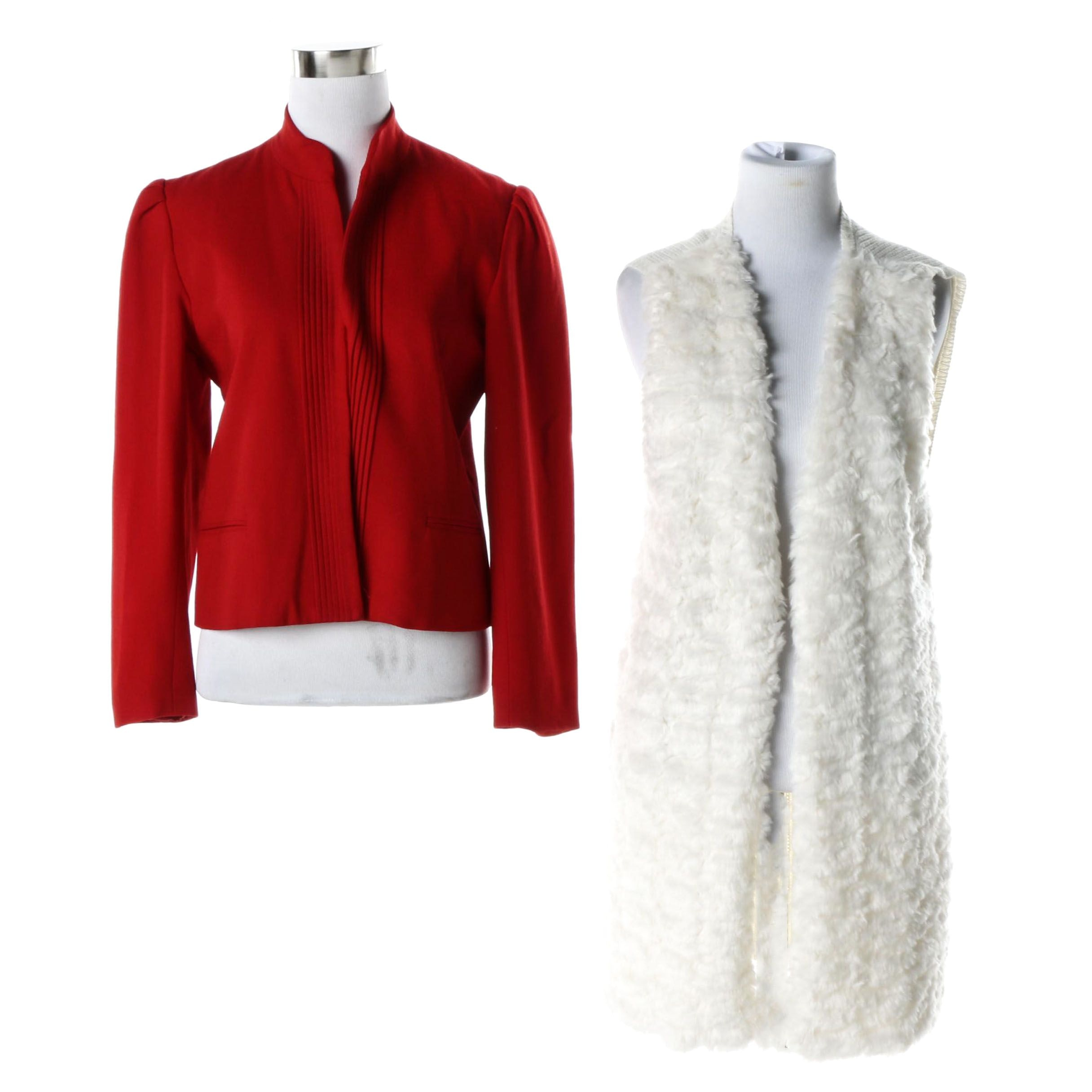 Women's Richard Neal Ltd. Red Wool Jacket and an Off-White Faux Fur Vest