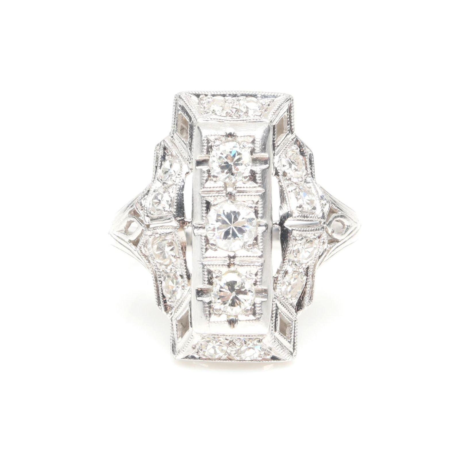 Transitional Art Deco Platinum and Diamond Dinner Ring