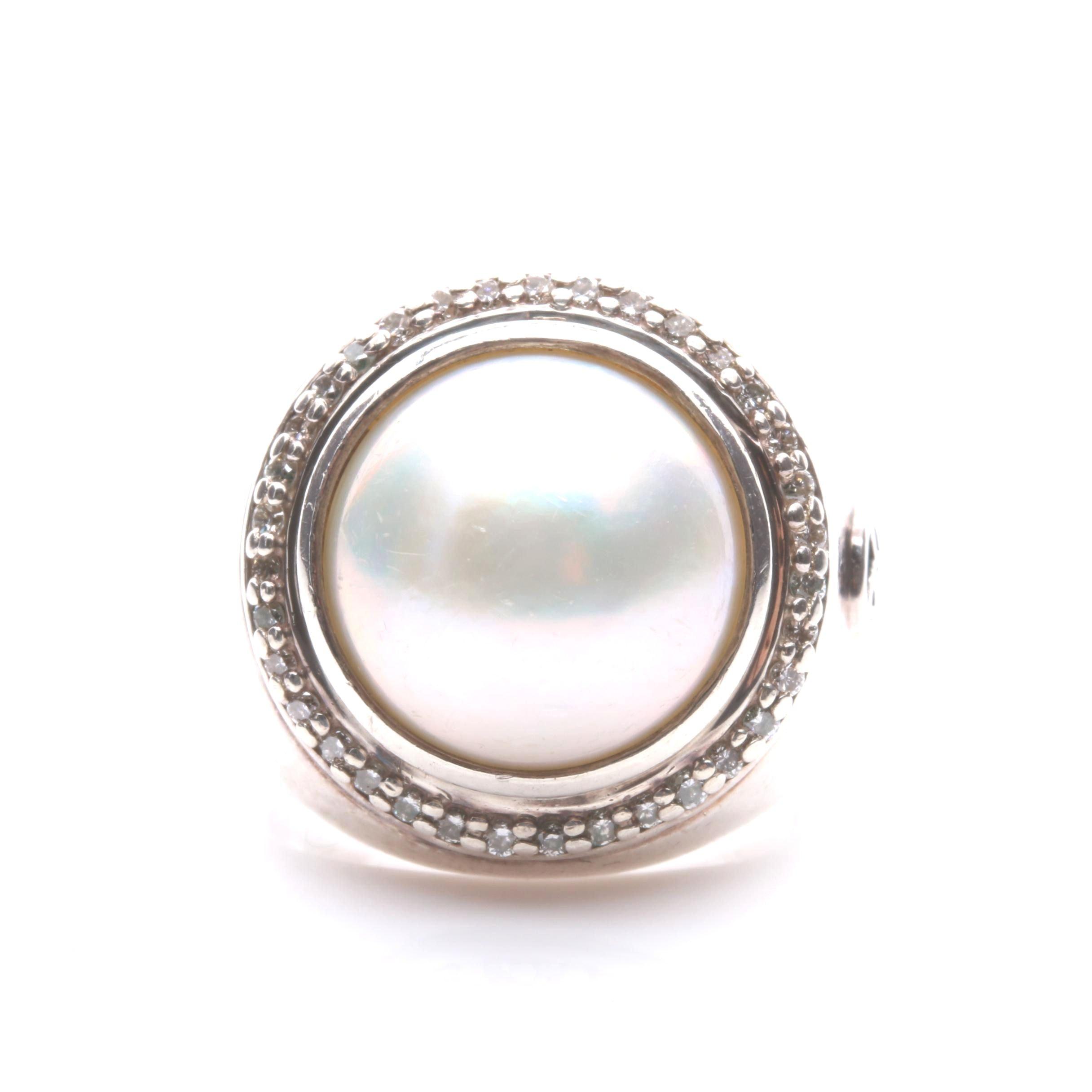 David Yurman Sterling Silver Cultured Mabé Pearl and Diamond Ring