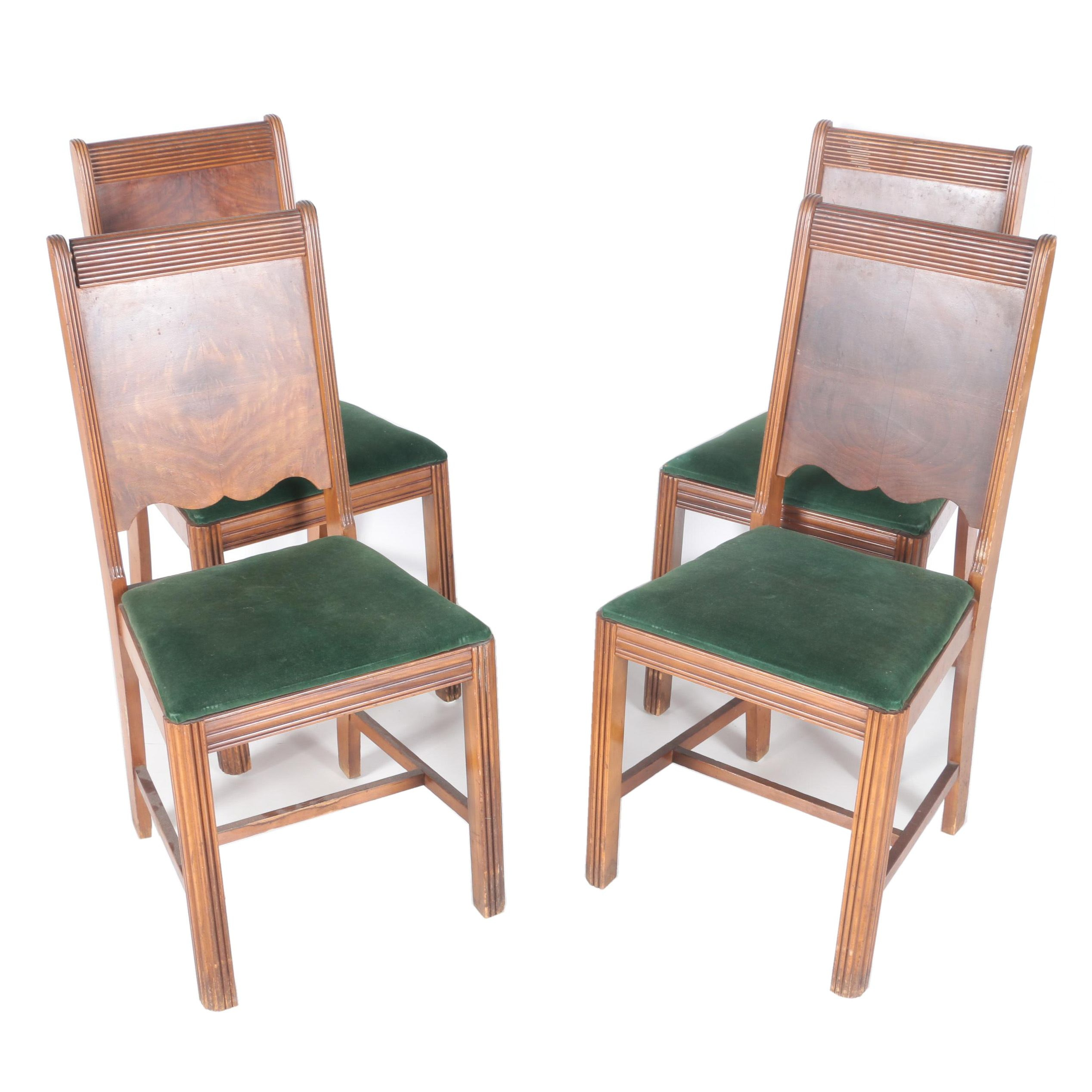 Four Deco Style Walnut Dining Chairs