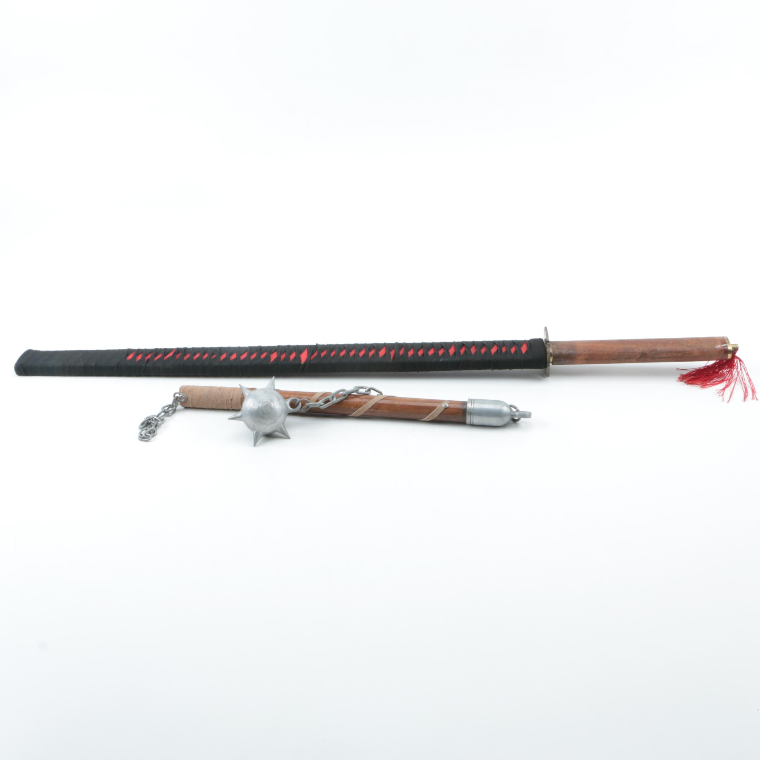 Katana Sword with Scabbard and Spiked Ball and Chain Flail