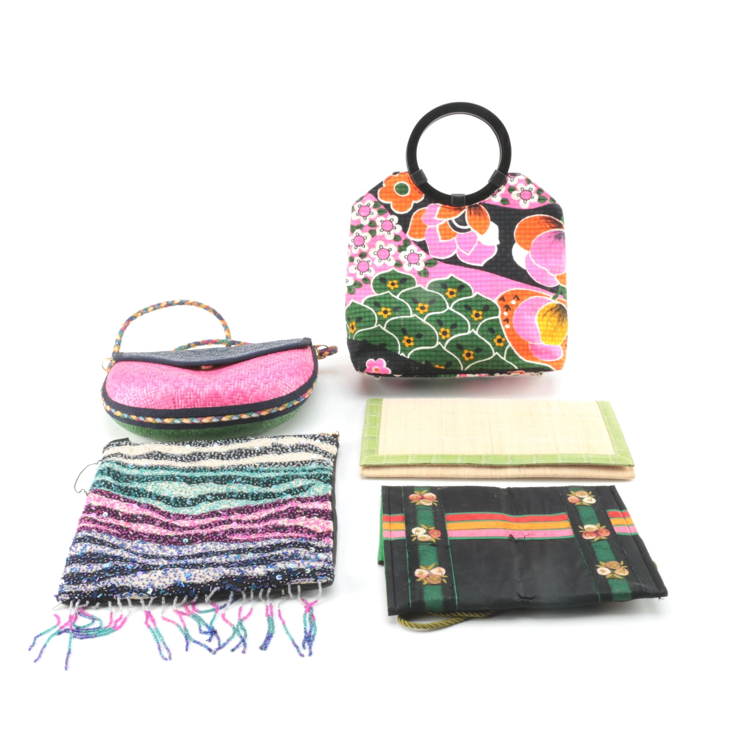 Brightly Colored Woven Handbags