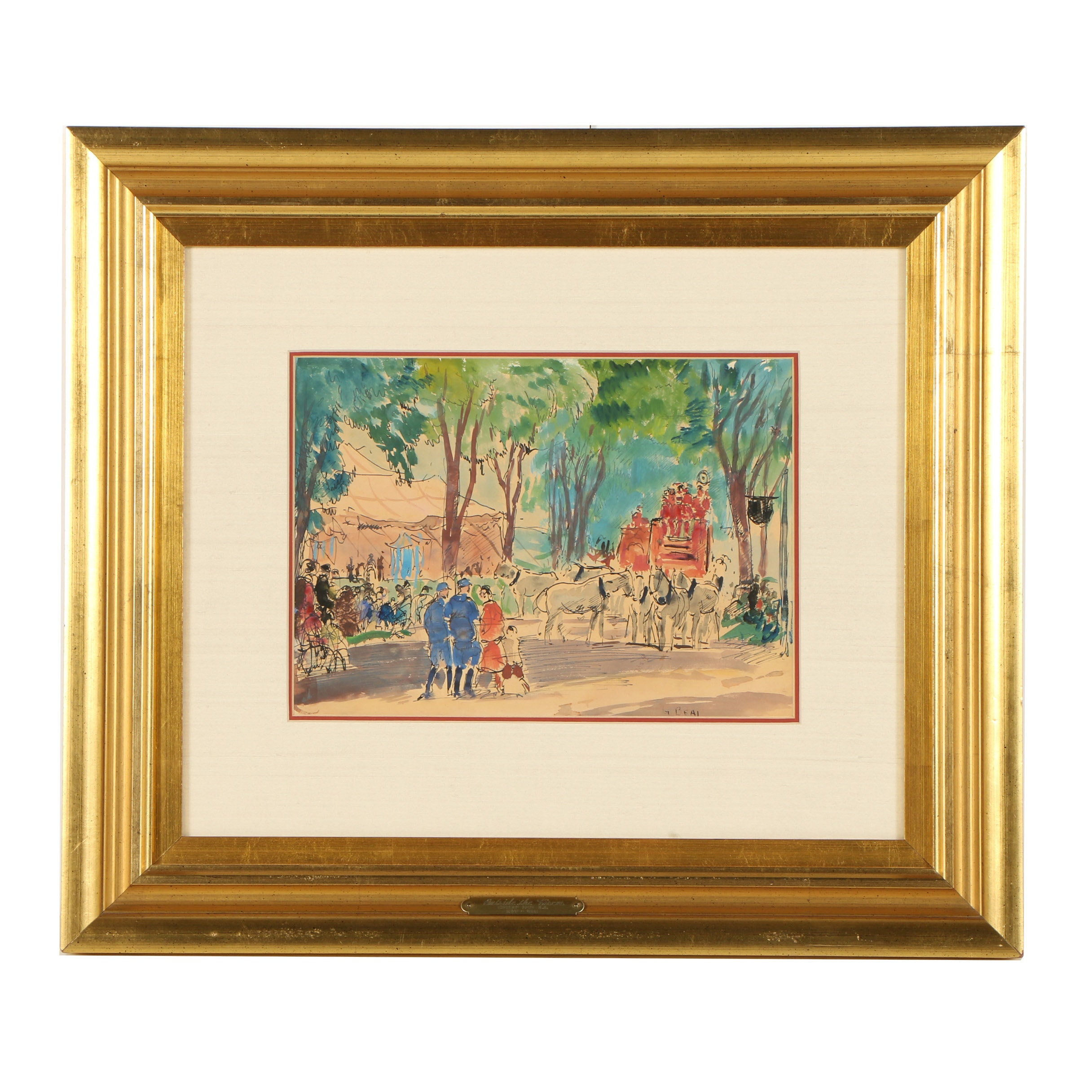 "Gifford Beal Ink and Watercolor Painting ""Outside the Circus"""