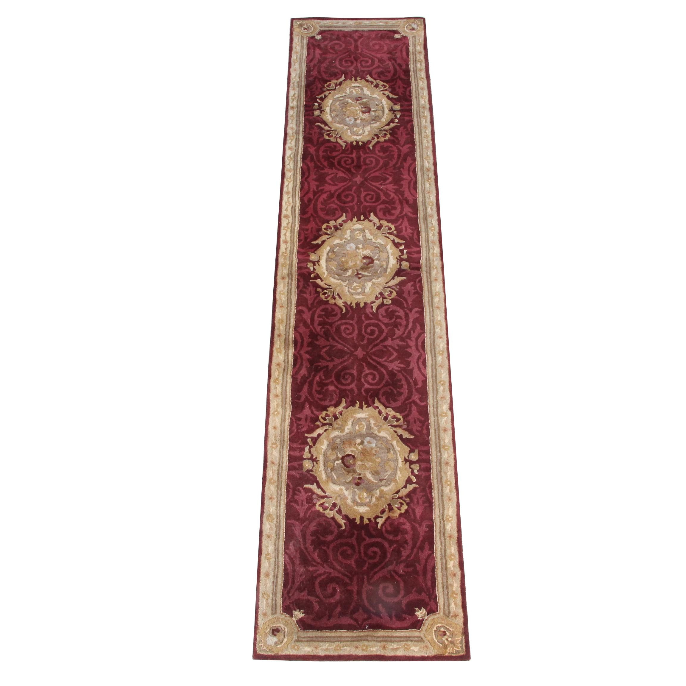 Hand-Tufted Indian Carved Wool Carpet Runner by Safavieh