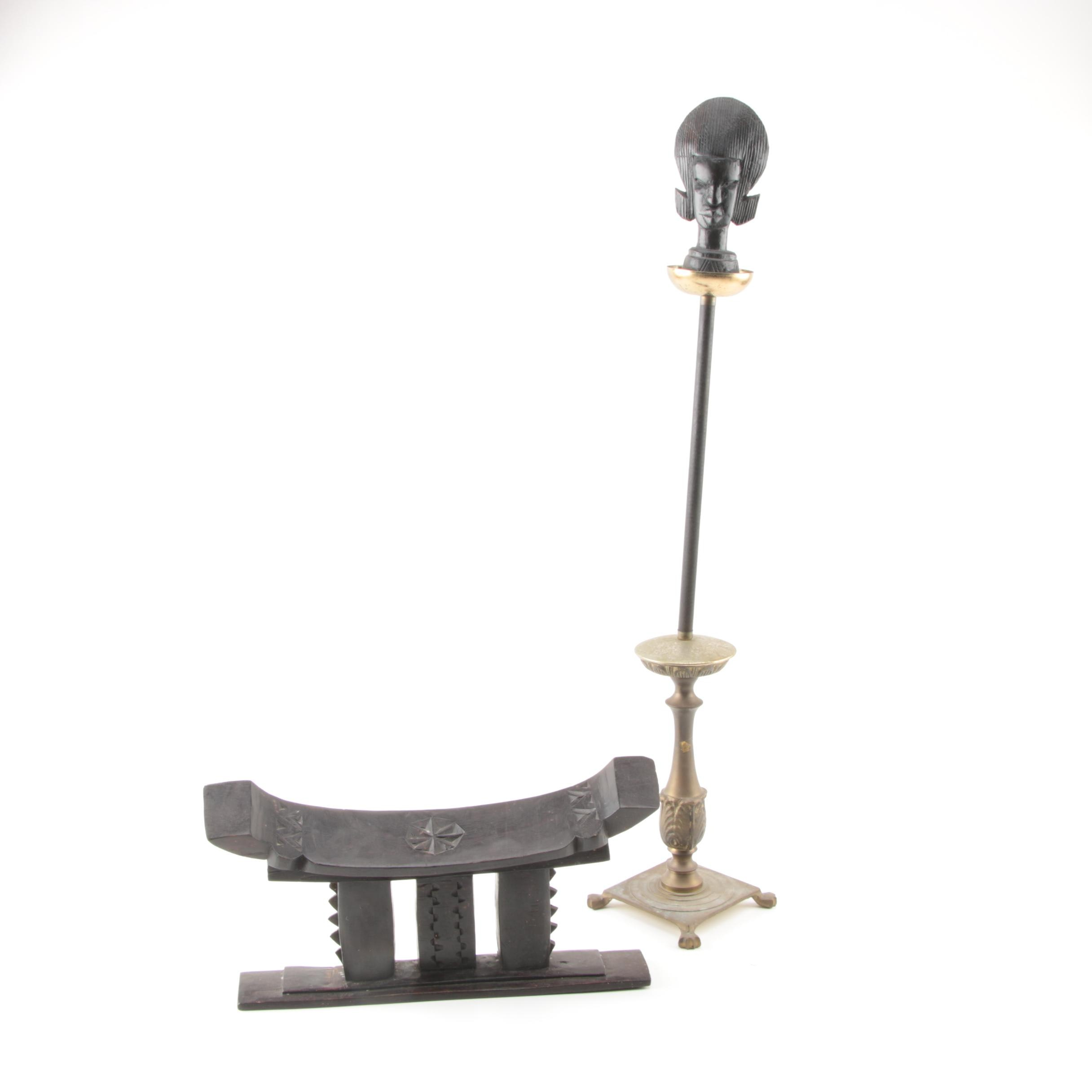 African Carved Wood Stand, Figurine, and Metal Stand