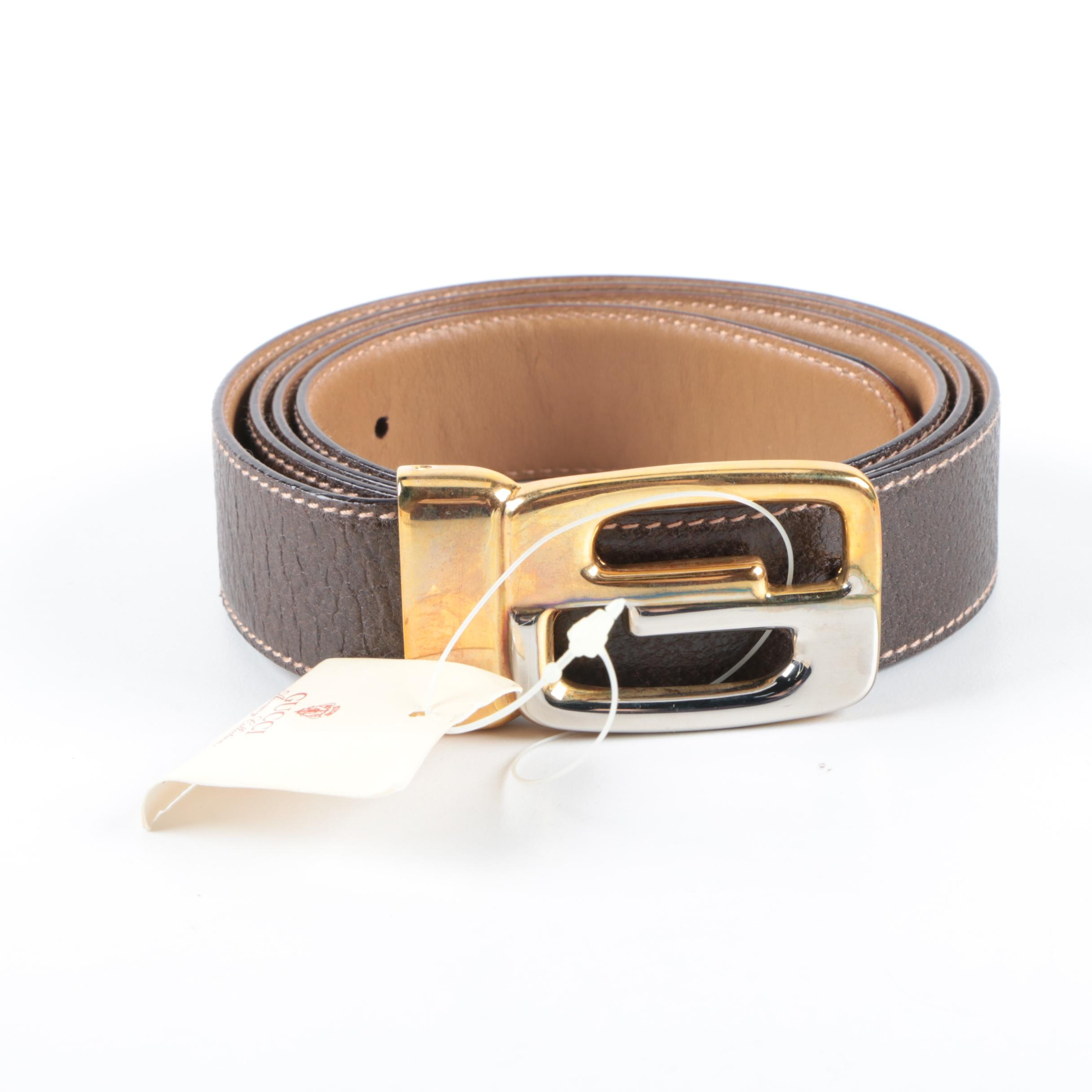 Gucci Leather Belt with Two Tone GG Logo Buckle