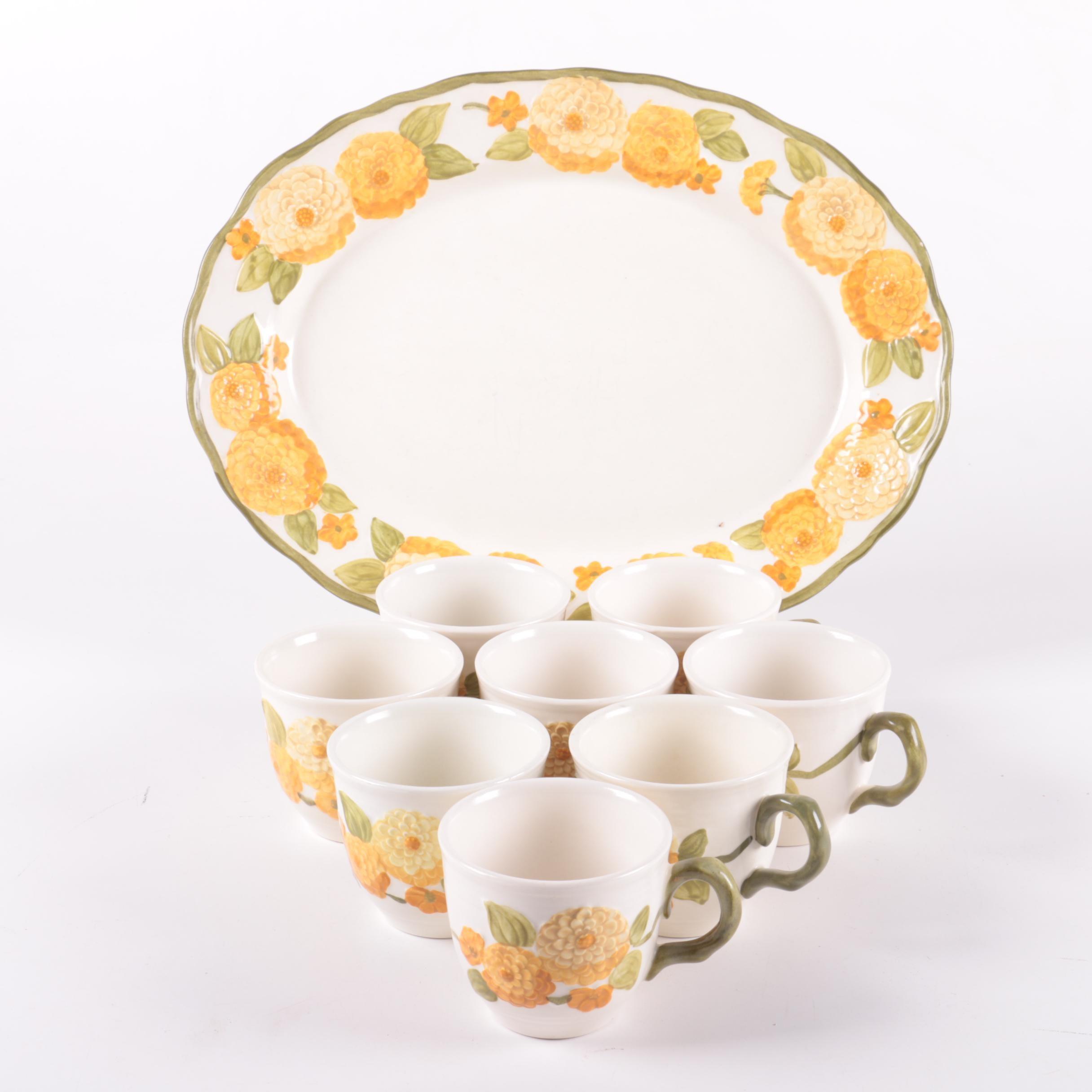 """Metlox """"Sculptured Zinnia"""" Platter and Teacups"""