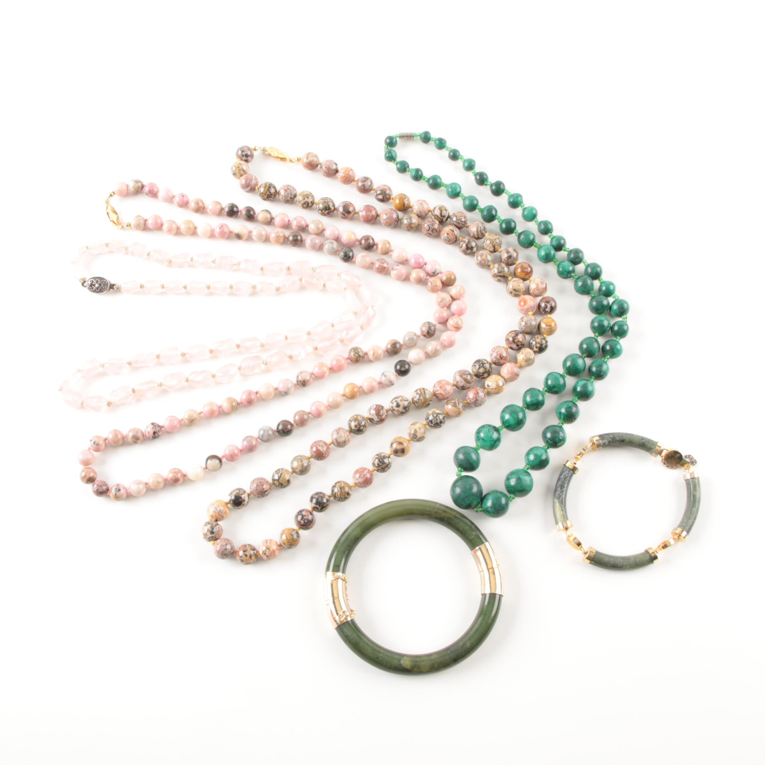 Jasper, Malachite, and Rose Quartz Jewelry Selection Including Sterling Silver