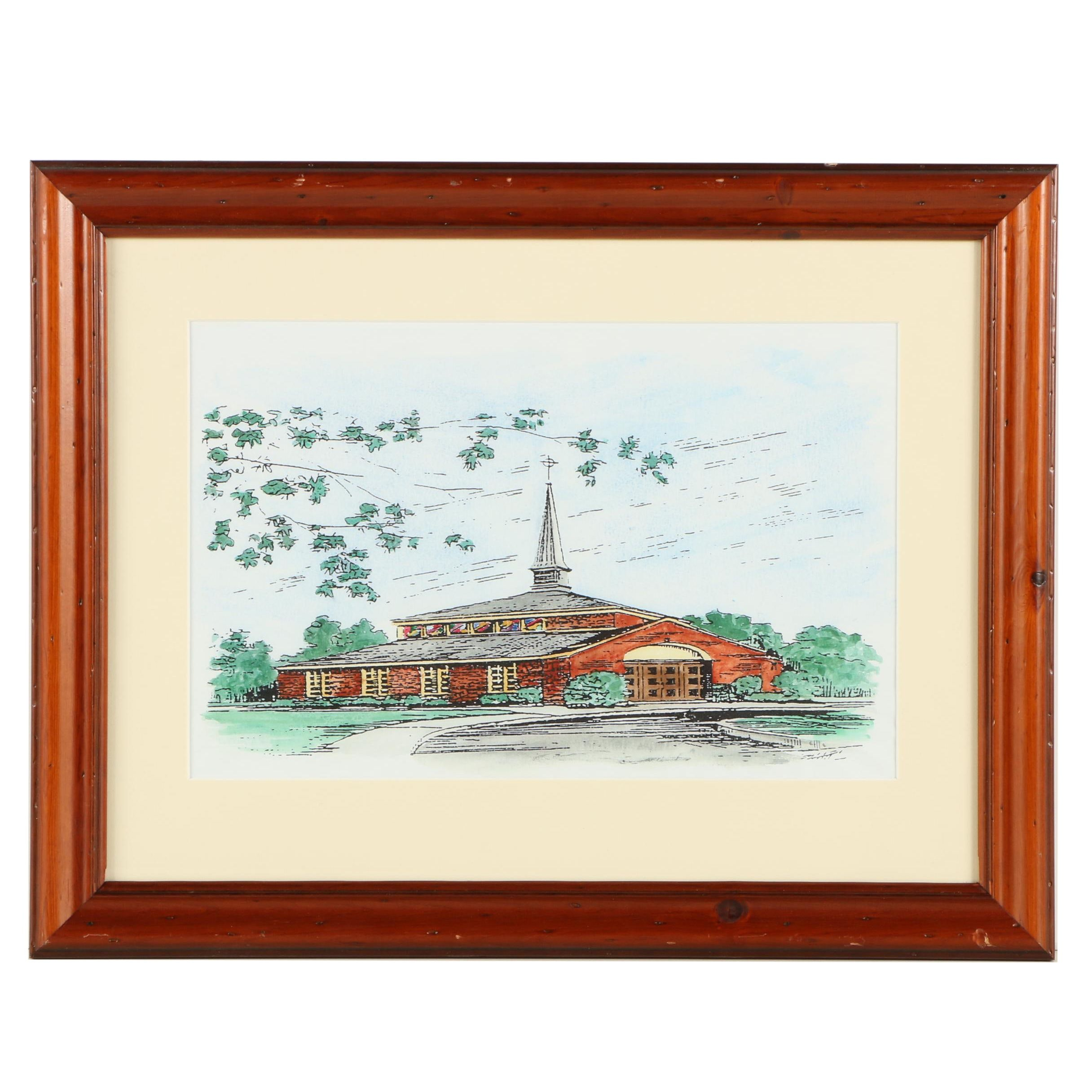 Reproduction Print of a Church