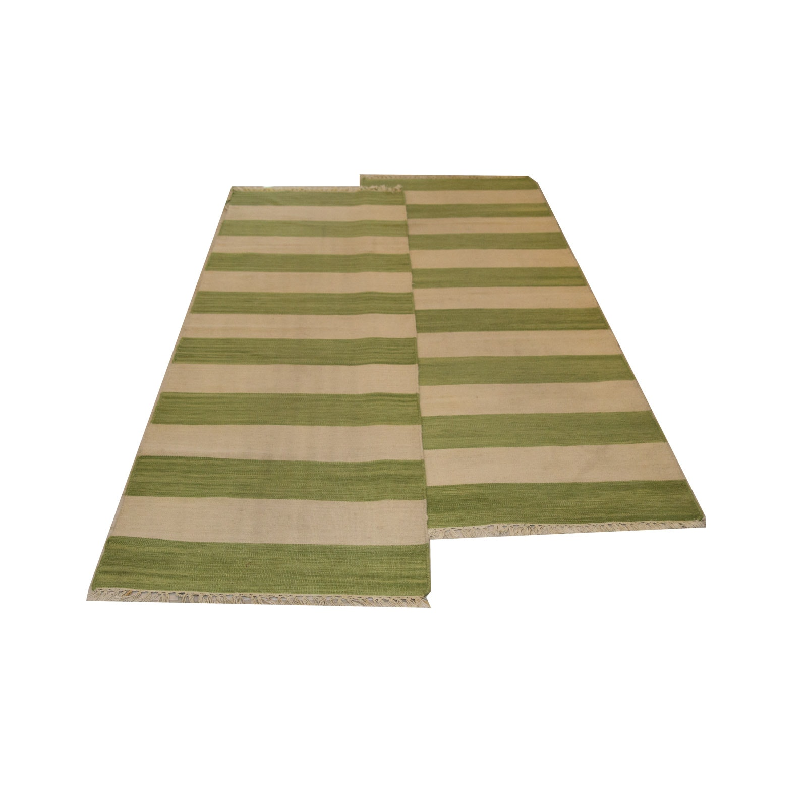 Green and White Striped Runner Rugs