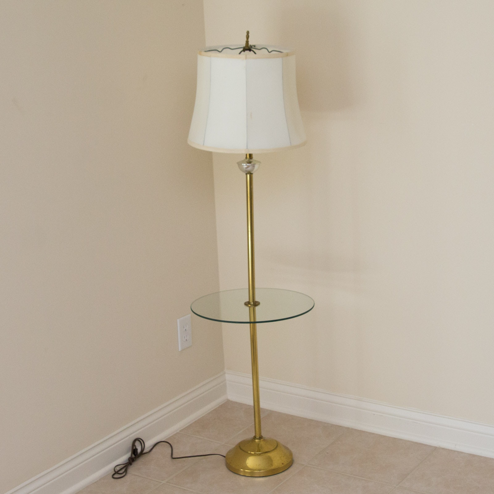 Vintage Glass and Brass Floor Lamp